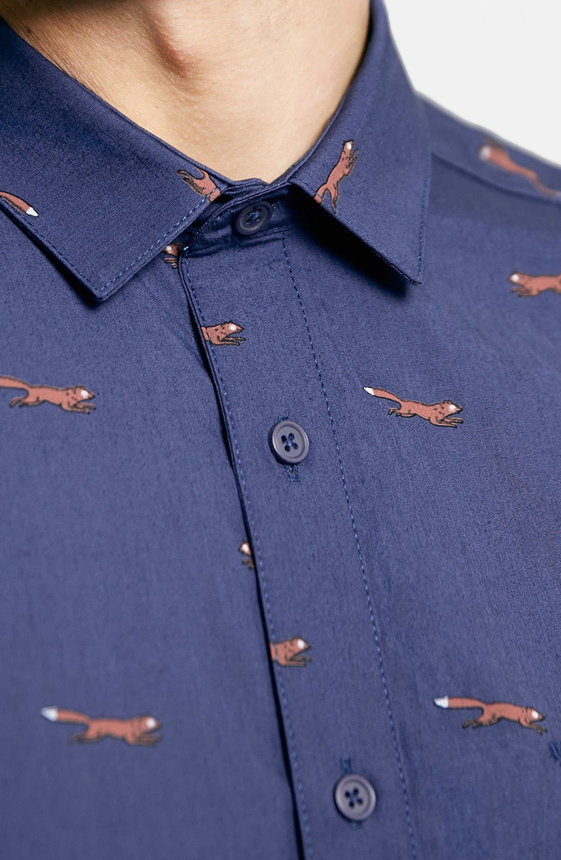 Short Sleeve All Over Fox Print Shirt,                             Alternate thumbnail 3, color,                             401