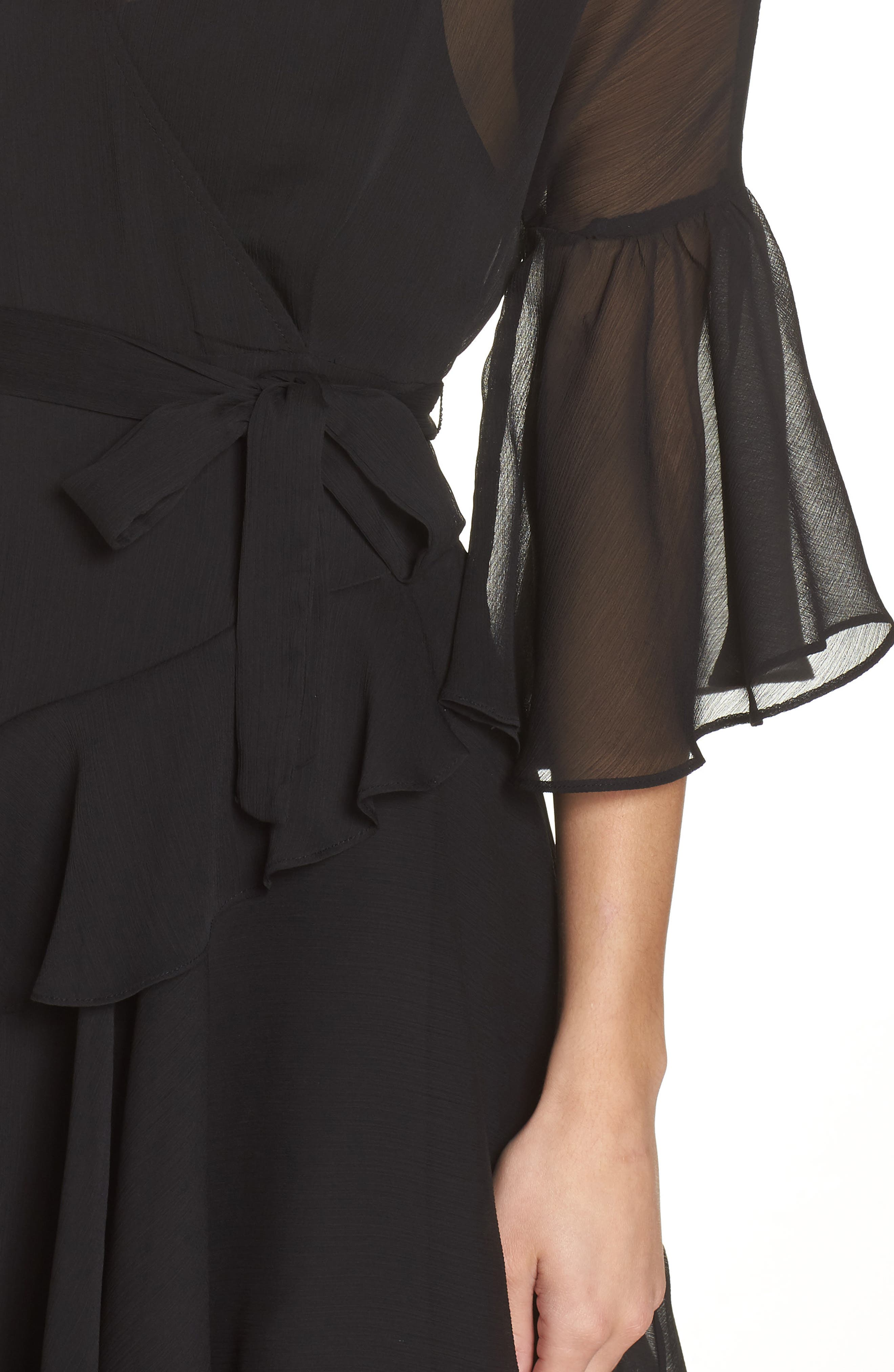 Hallie Ruffle Dress,                             Alternate thumbnail 4, color,                             BLACK