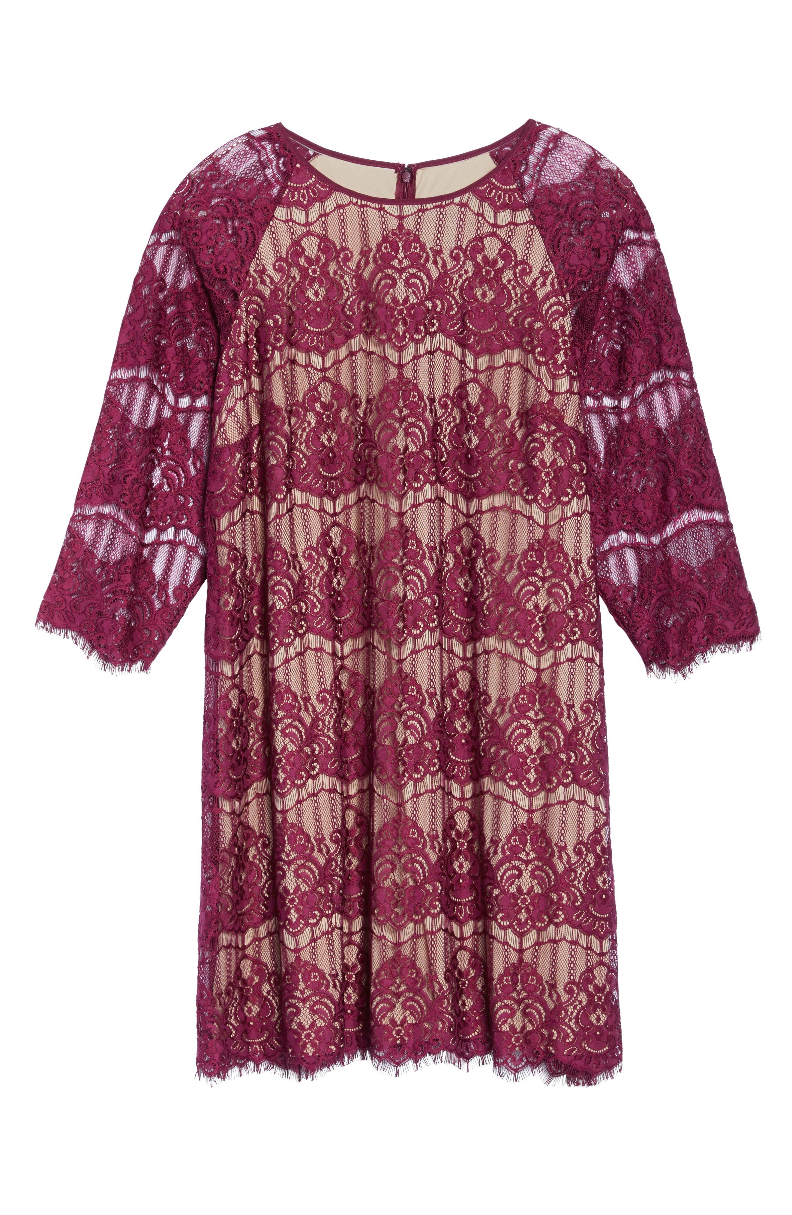 Scalloped Lace Trapeze Dress,                             Alternate thumbnail 6, color,