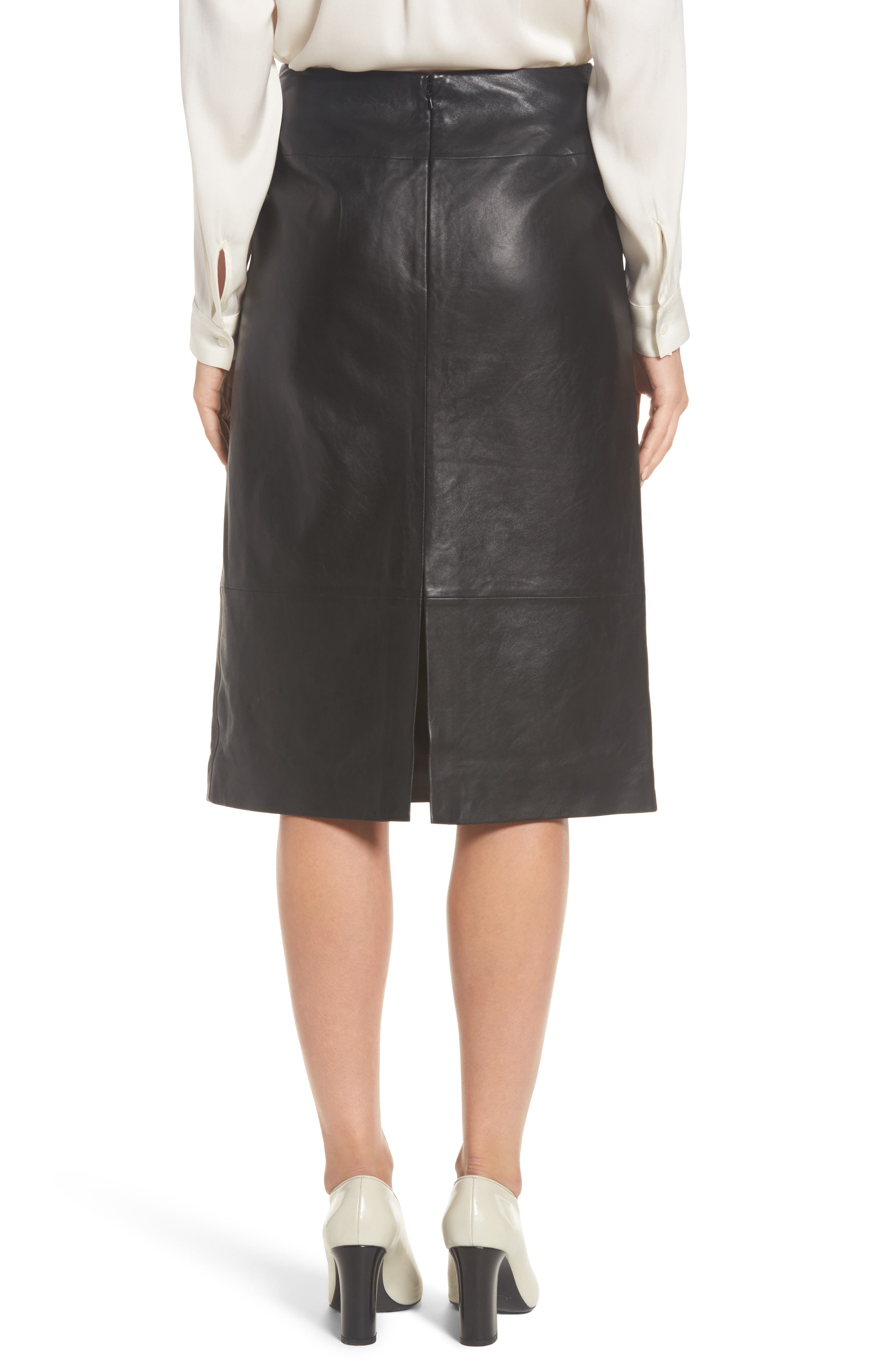 Belted Leather Skirt,                             Alternate thumbnail 2, color,                             001
