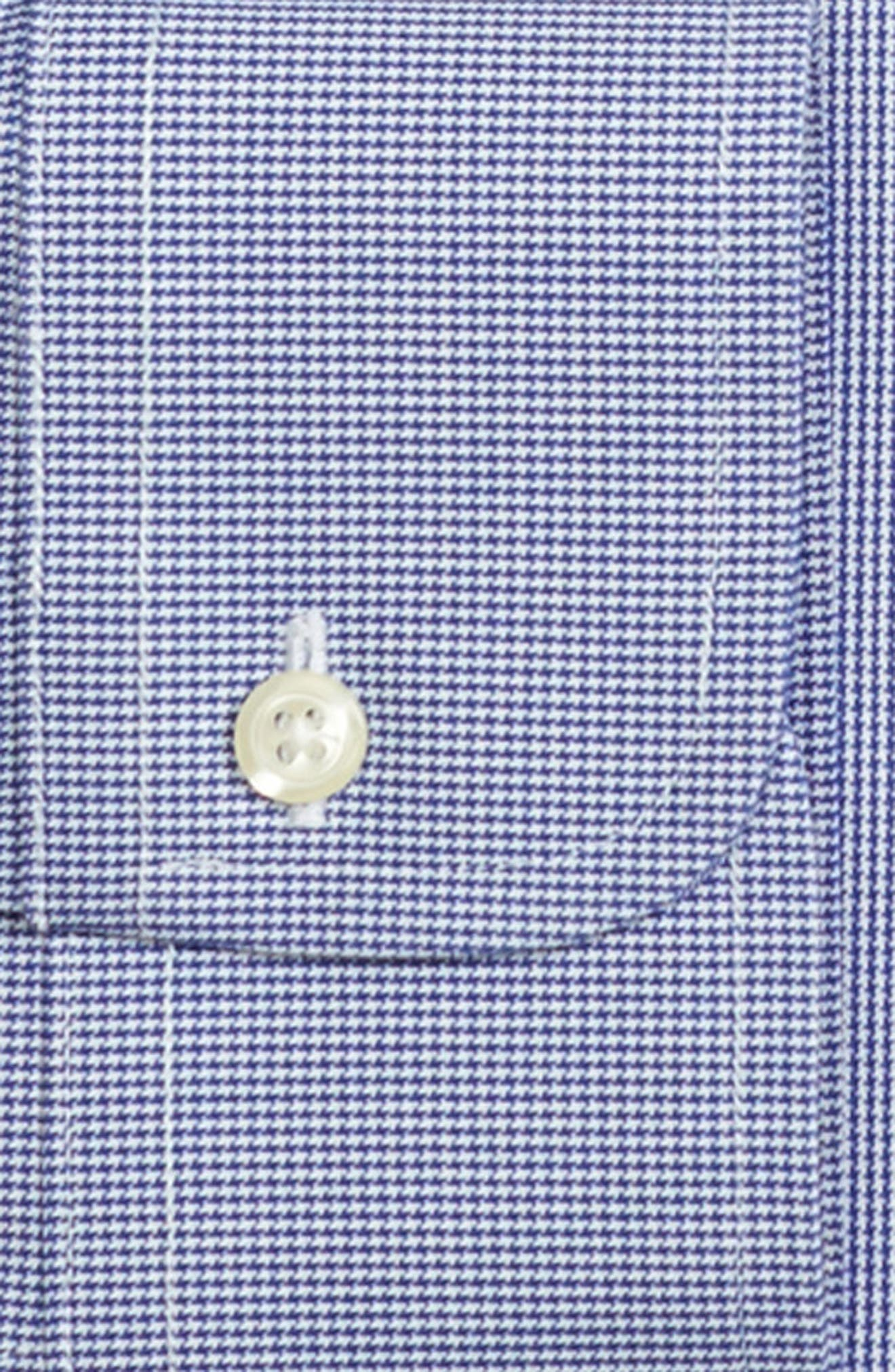 Trim Fit Houndstooth Dress Shirt,                             Alternate thumbnail 2, color,                             BLUE