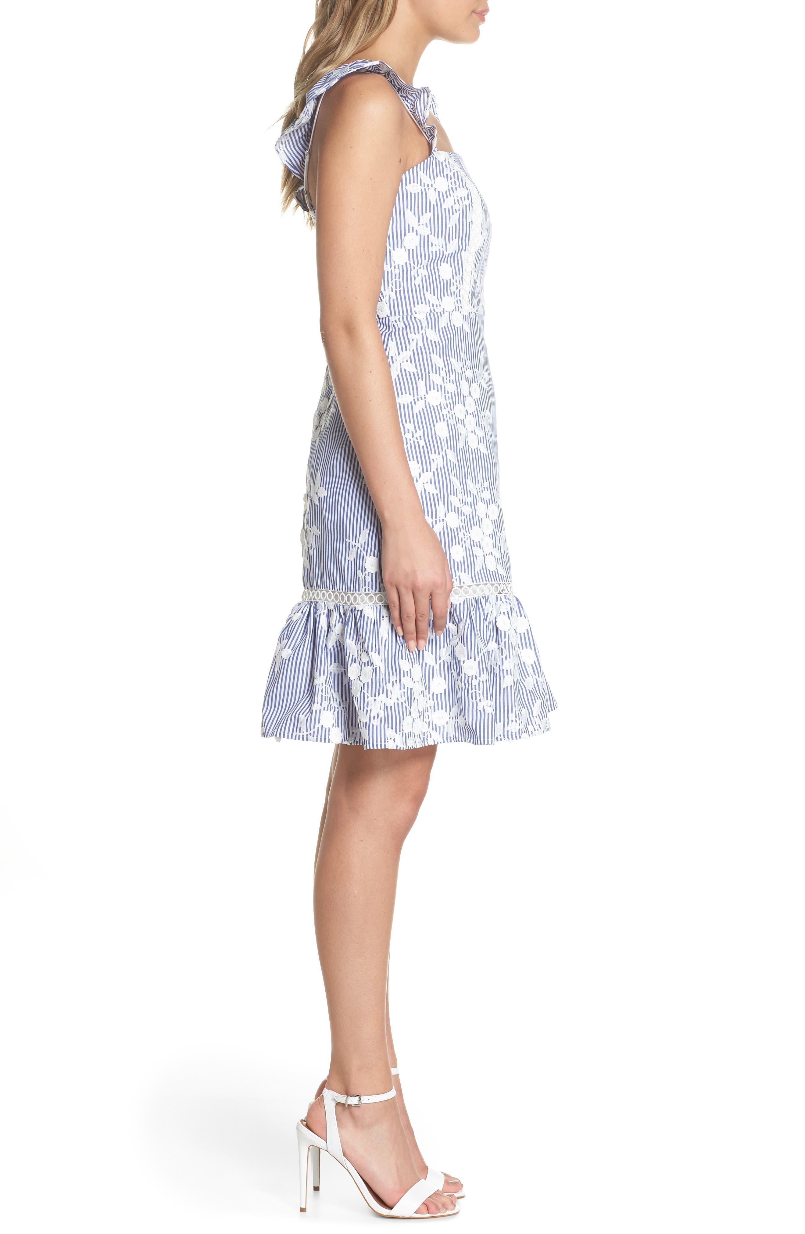 Embroidered Ruffle Hem Sundress,                             Alternate thumbnail 3, color,                             WHITE/ BLUE