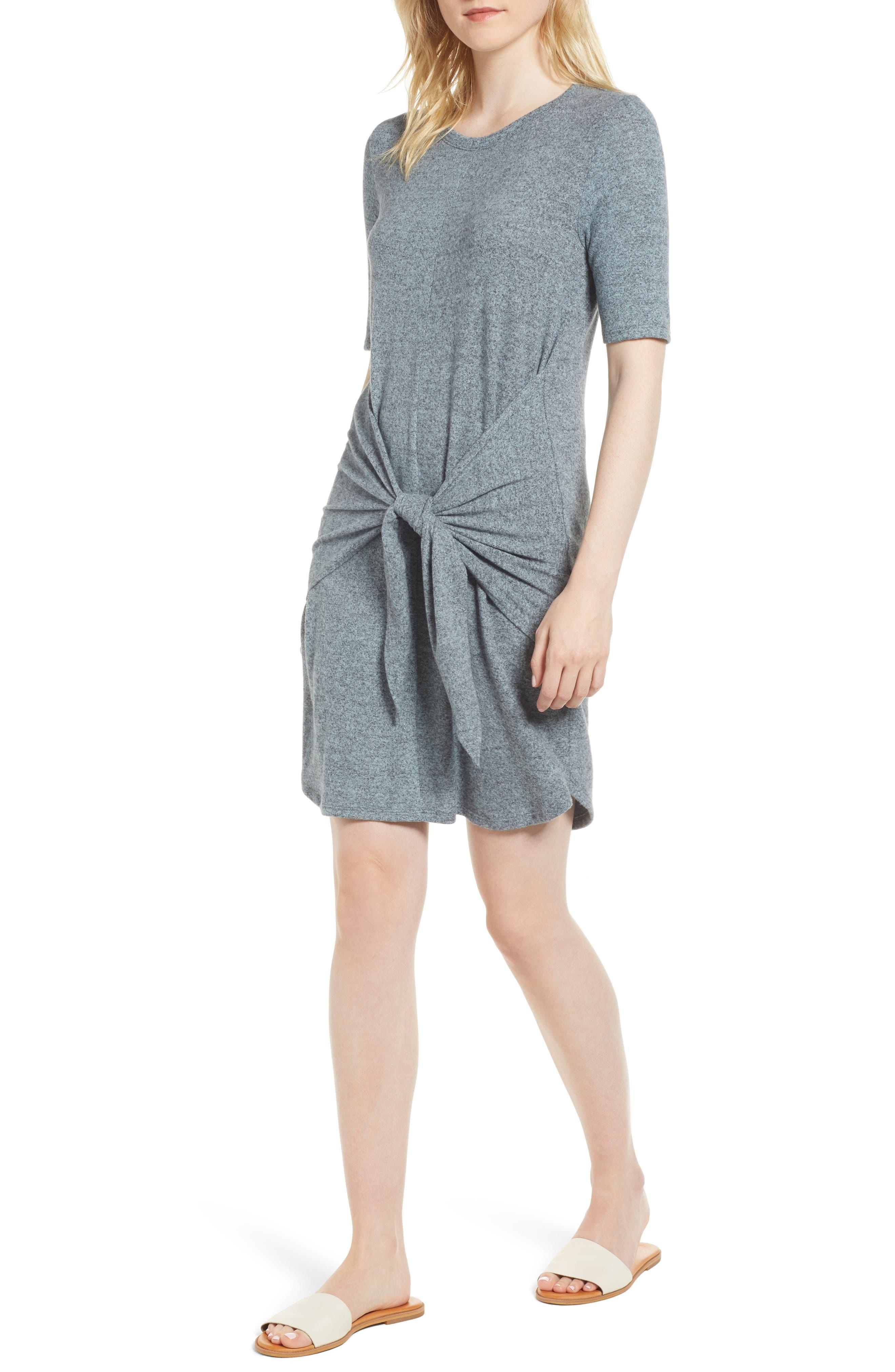 Caslon Off-Duty Tie Front Knit Dress,                             Main thumbnail 3, color,
