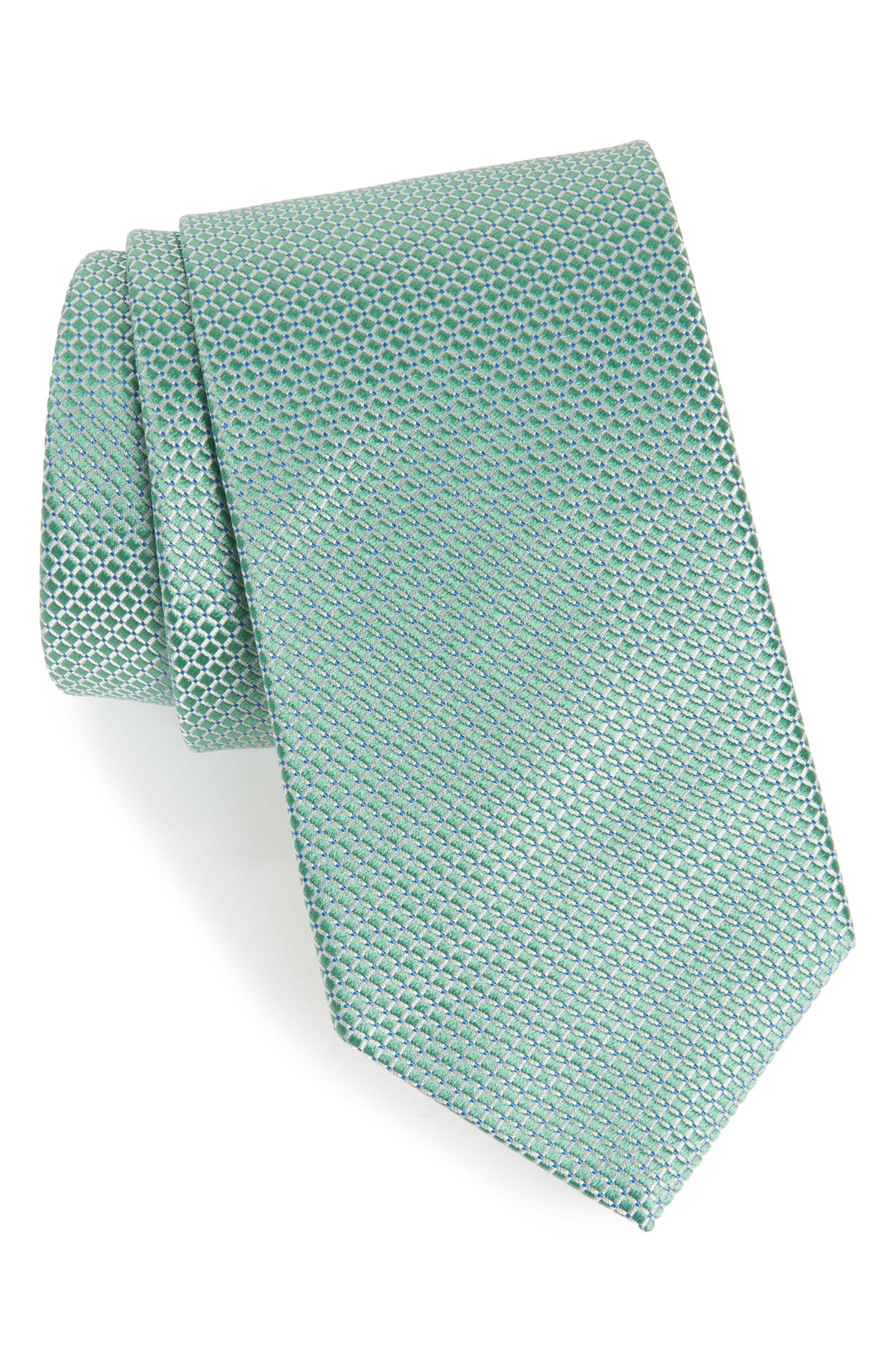 Geometric Silk Tie,                             Main thumbnail 1, color,                             GREEN
