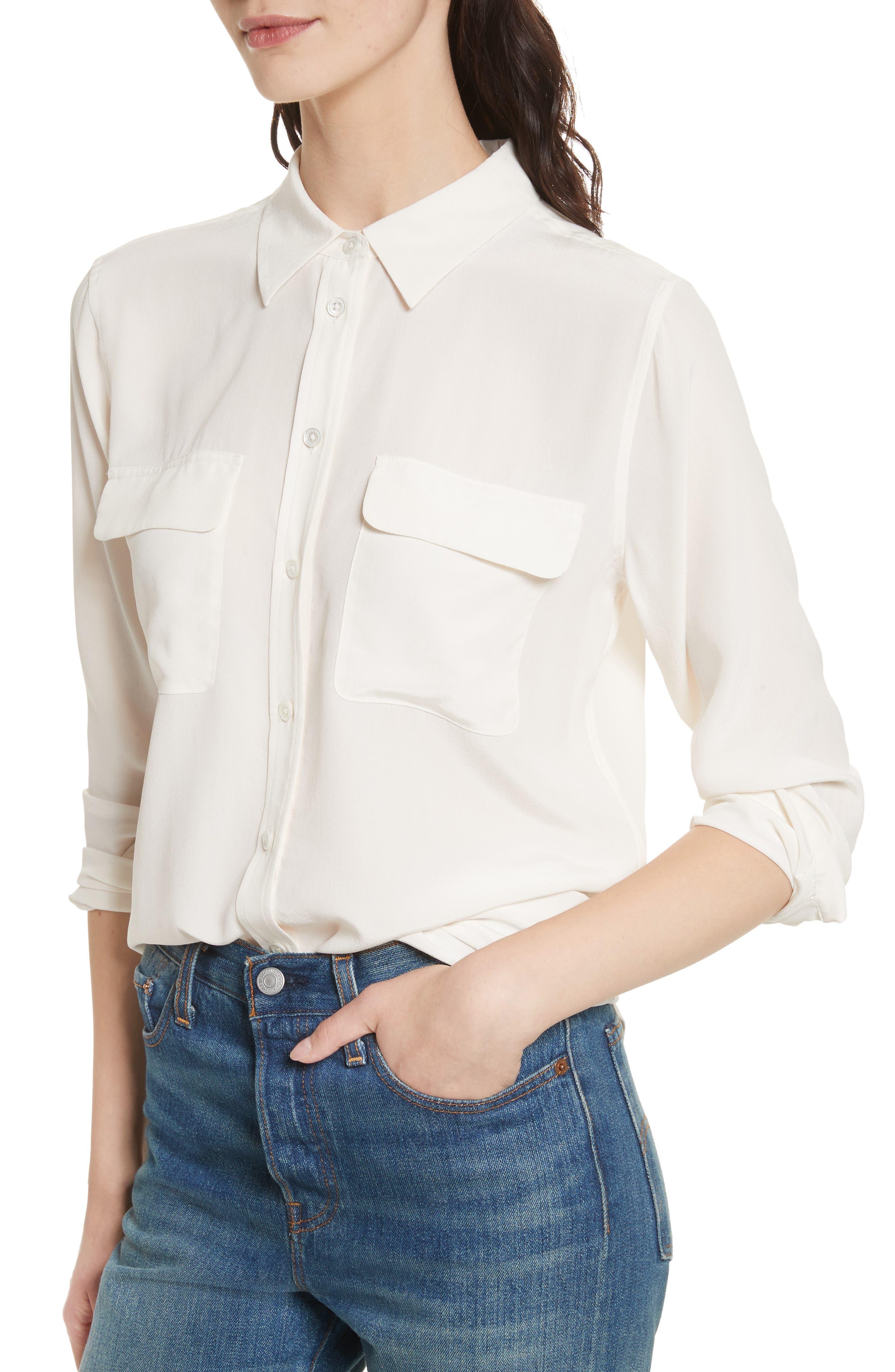 EQUIPMENT,                             'Slim Signature' Silk Shirt,                             Alternate thumbnail 4, color,                             BRIGHT WHITE