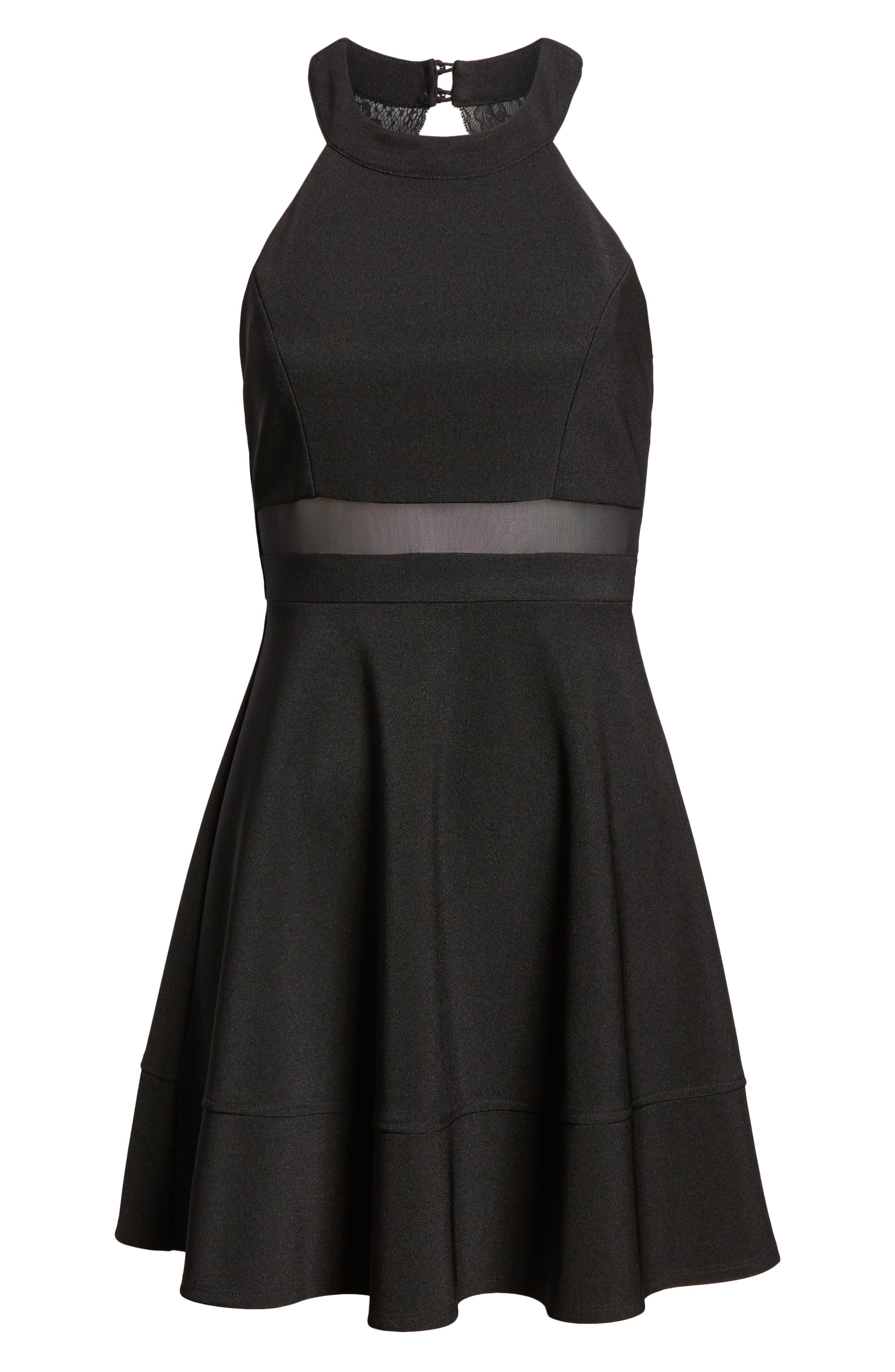 LOVE, NICKIE LEW,                             Love, Nicki Lew Halter Neck Skater Dress,                             Alternate thumbnail 7, color,                             BLACK