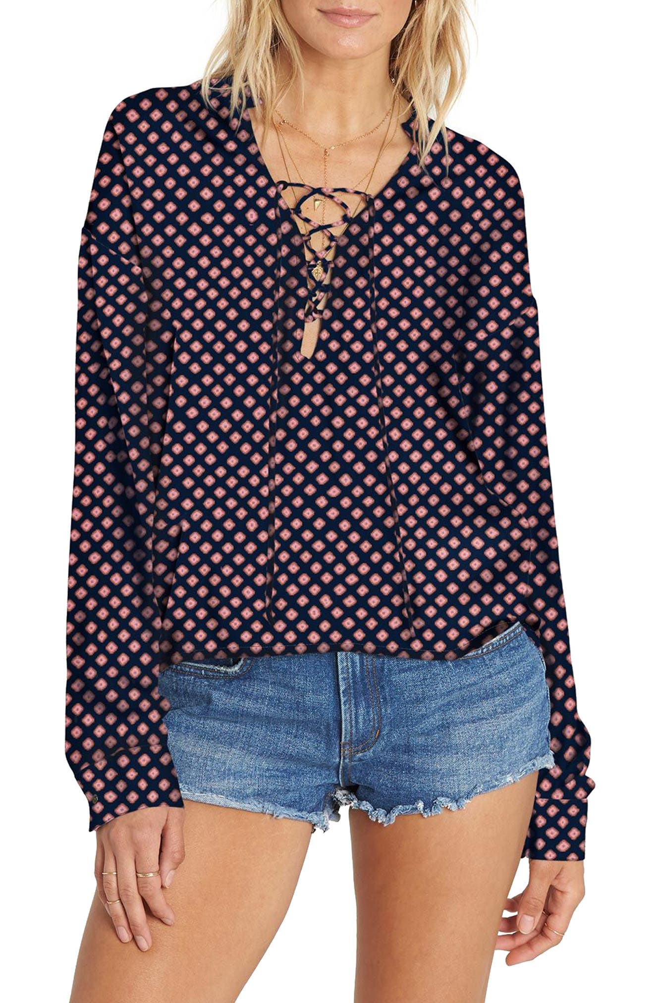 Finding Happiness Lace Up Top,                         Main,                         color, 400