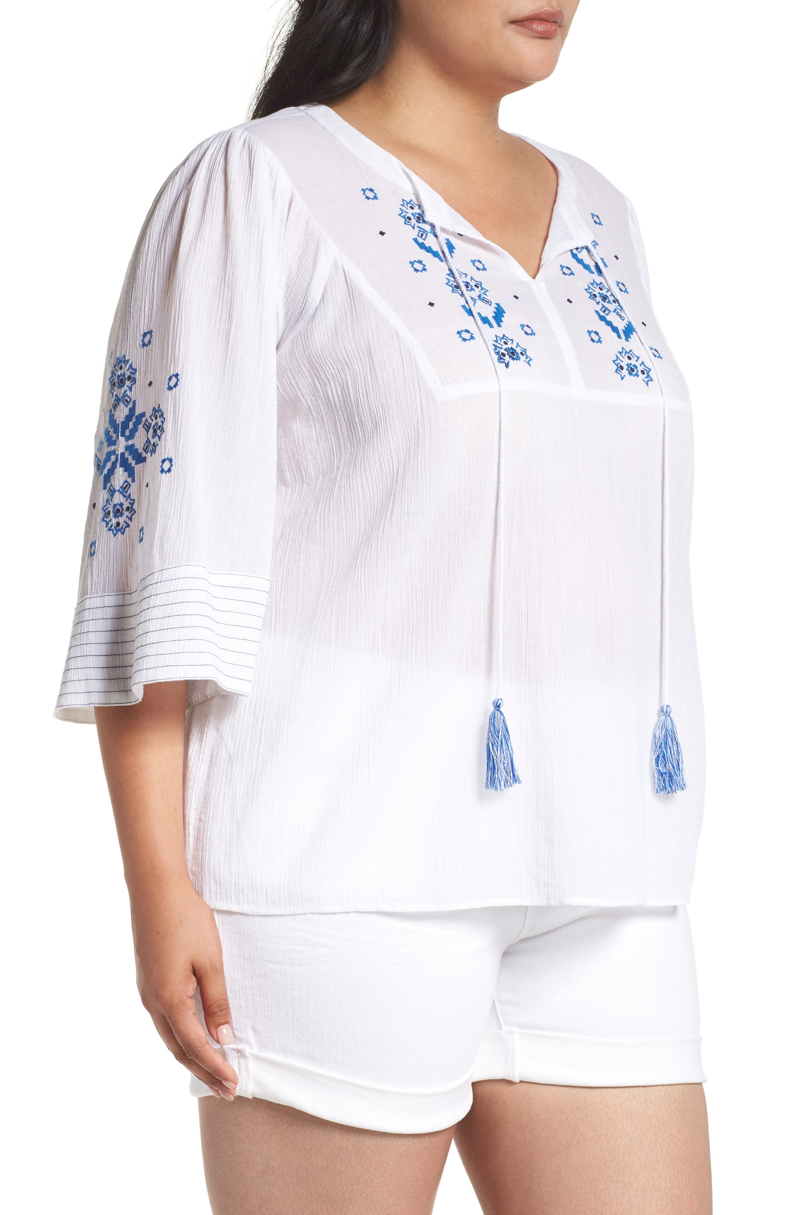 VINCE CAMUTO,                             Bell Sleeve Embroidered Top,                             Alternate thumbnail 3, color,                             145