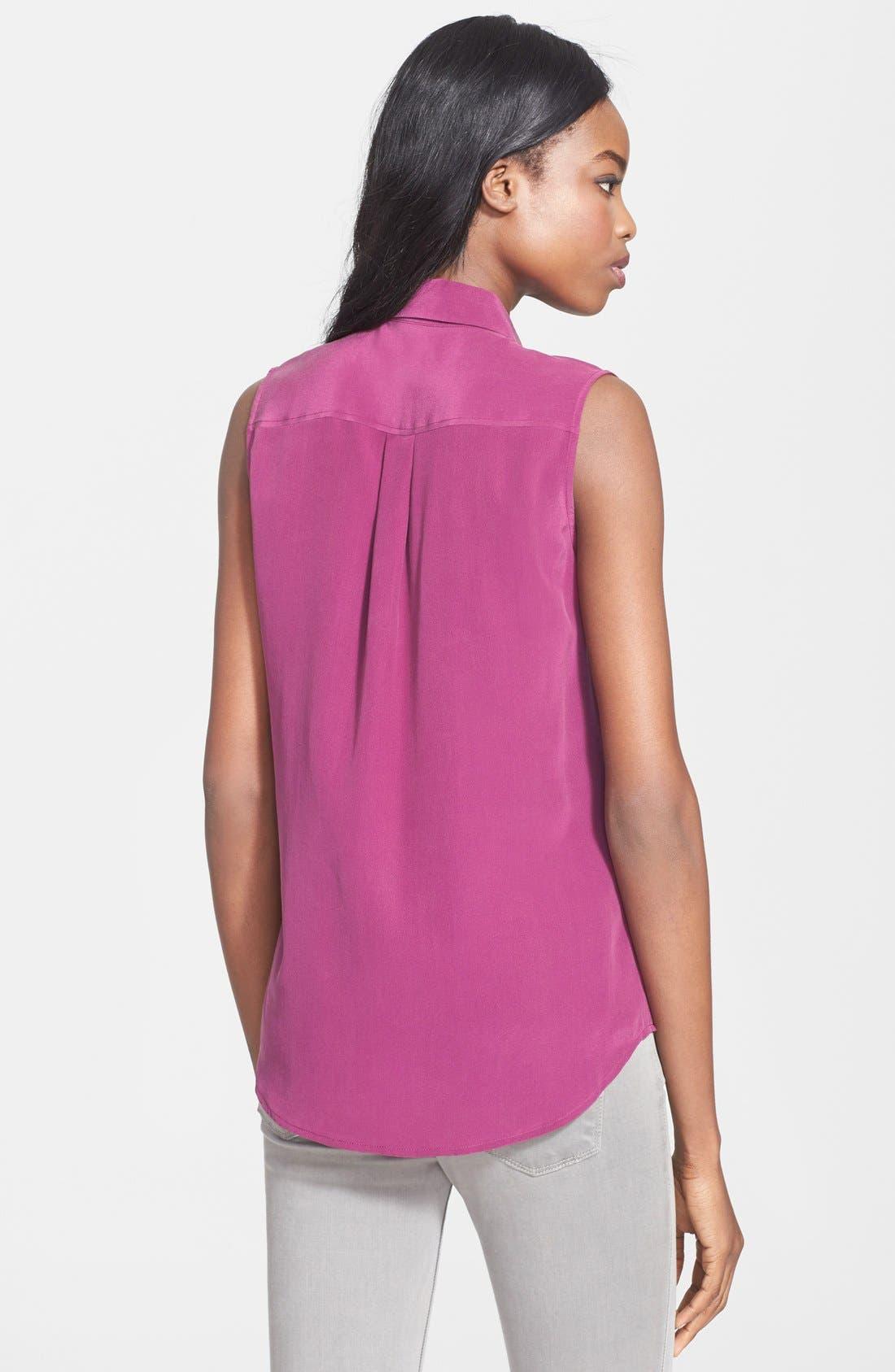 'Slim Signature' Sleeveless Silk Shirt,                             Alternate thumbnail 83, color,