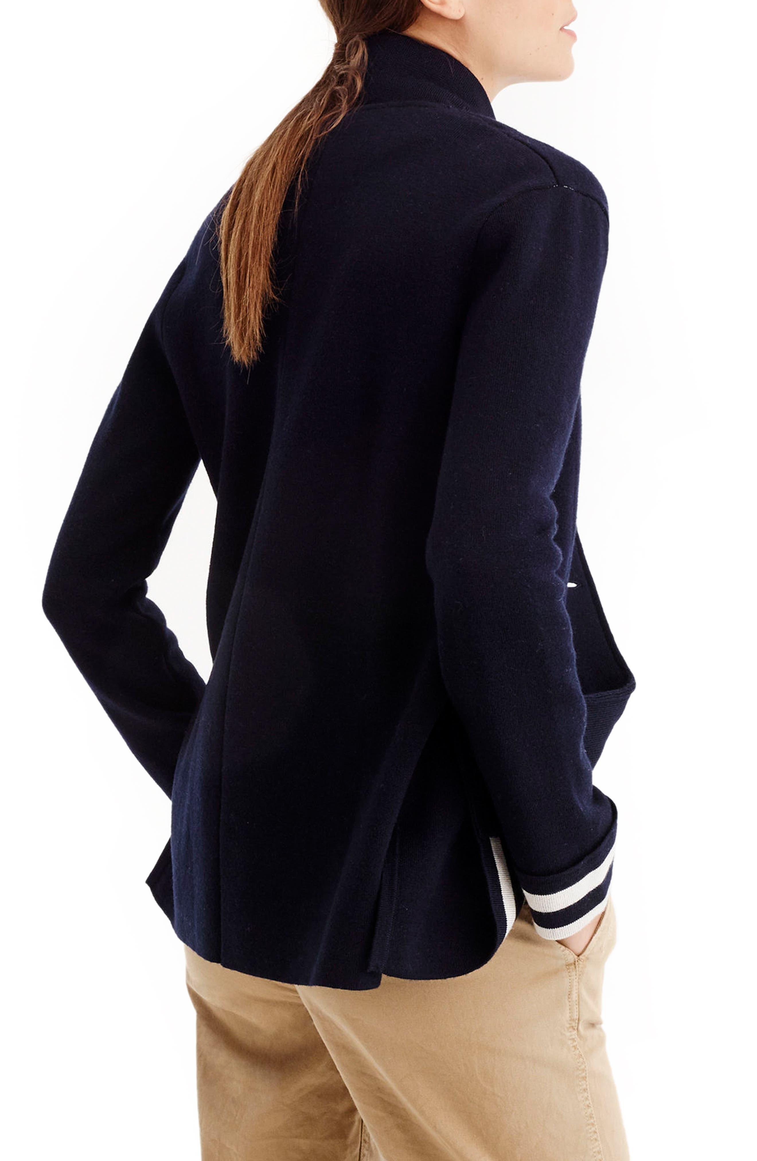 Stripe Lining Merino Wool Sweater Blazer,                             Alternate thumbnail 2, color,                             400