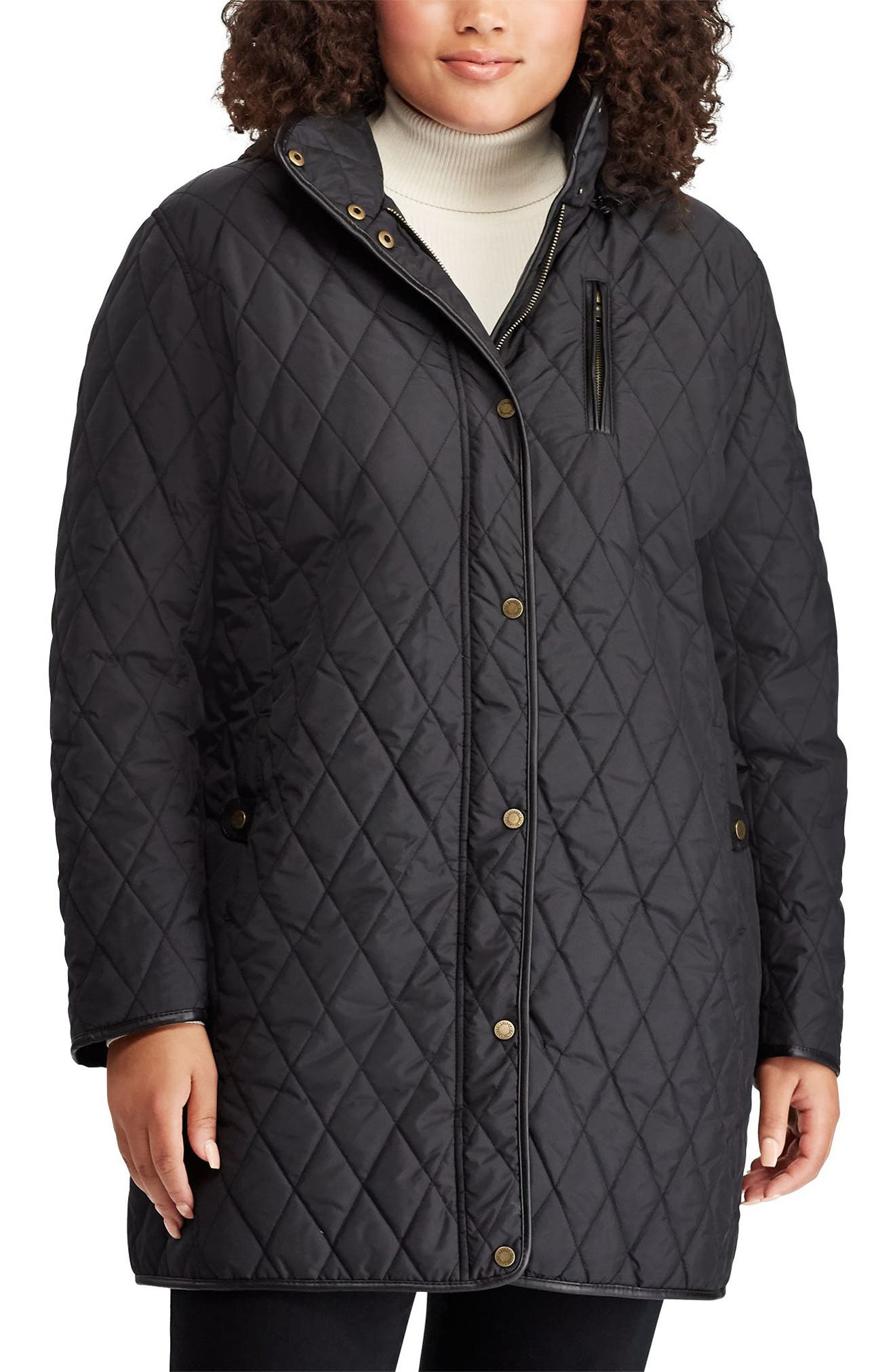 Quilted Coat, Main, color, BLACK