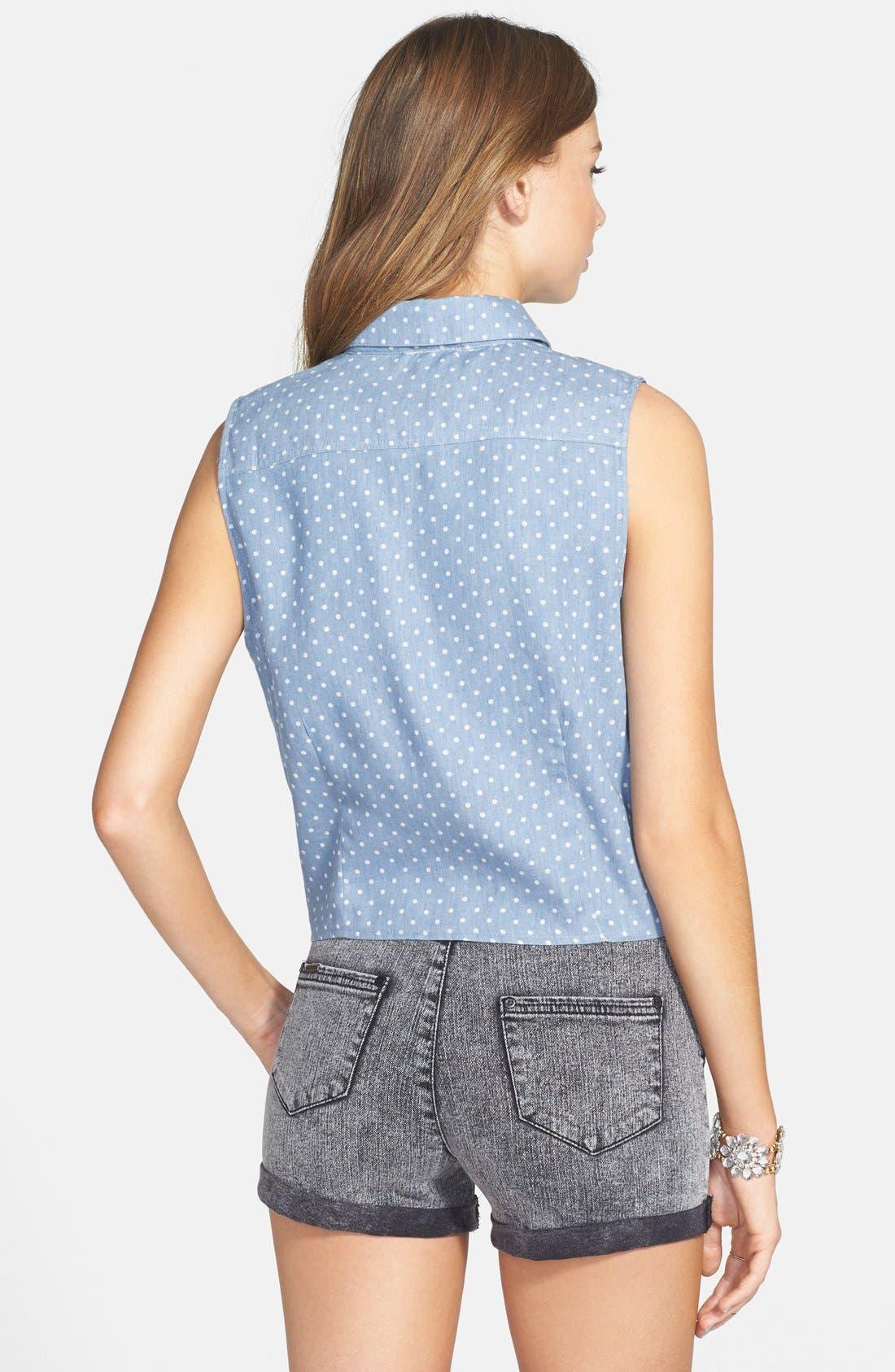 Polka Dot Sleeveless Tie Waist Shirt,                             Alternate thumbnail 3, color,                             400