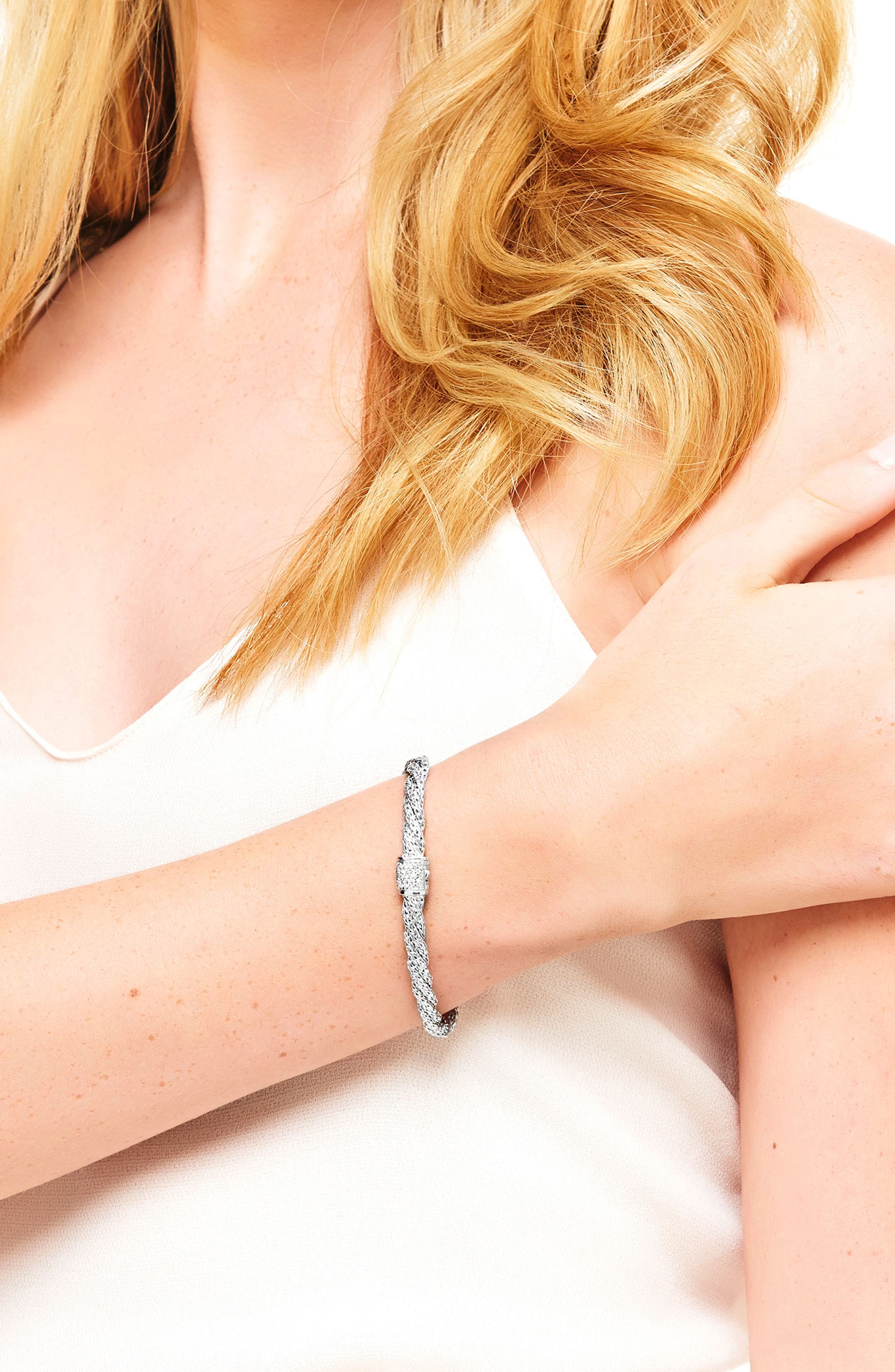 Twist Chain 5mm Bracelet with Diamonds,                             Alternate thumbnail 2, color,                             SILVER/ DIAMOND