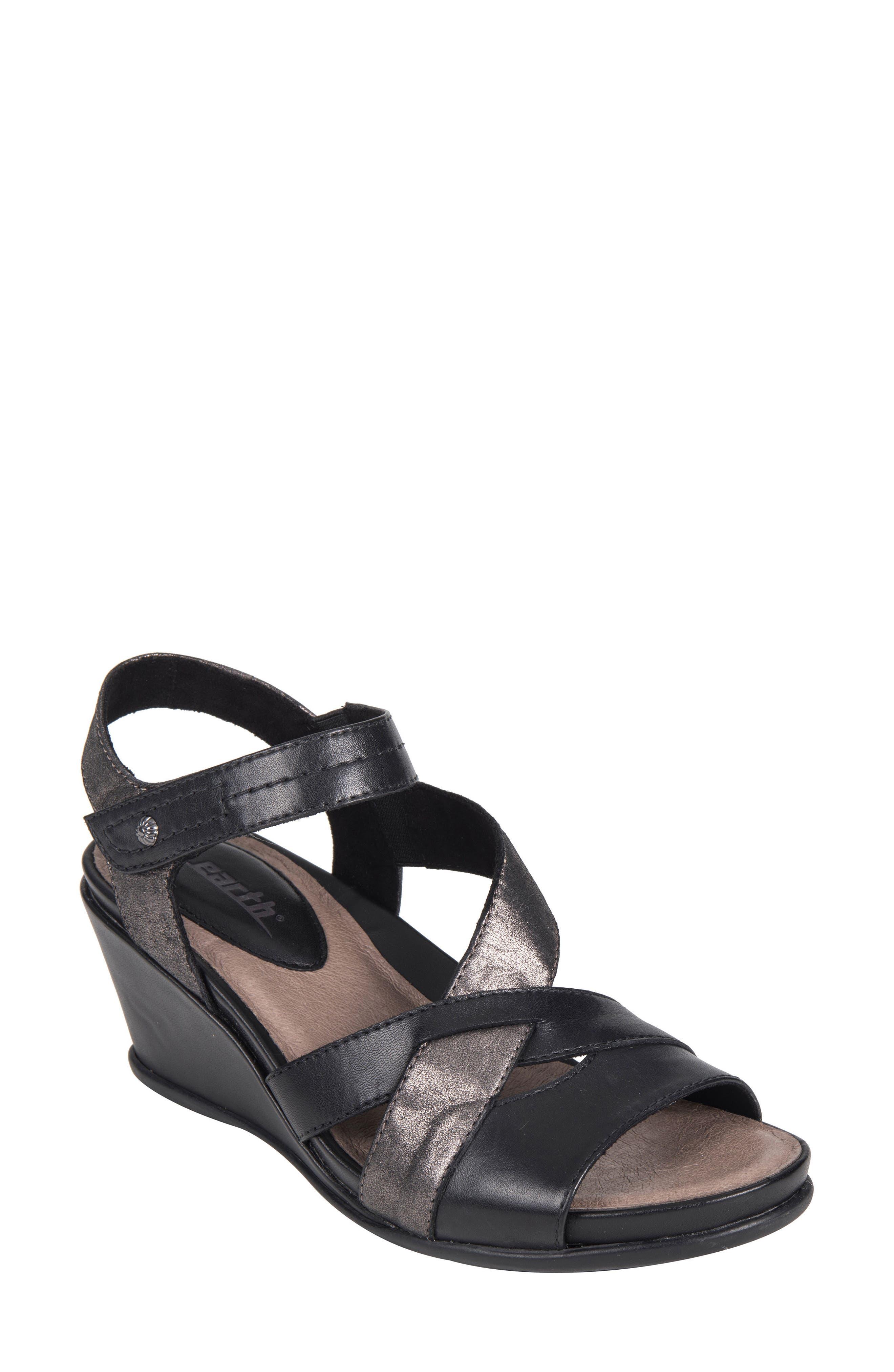 Thistle Wedge Sandal,                             Main thumbnail 1, color,                             001