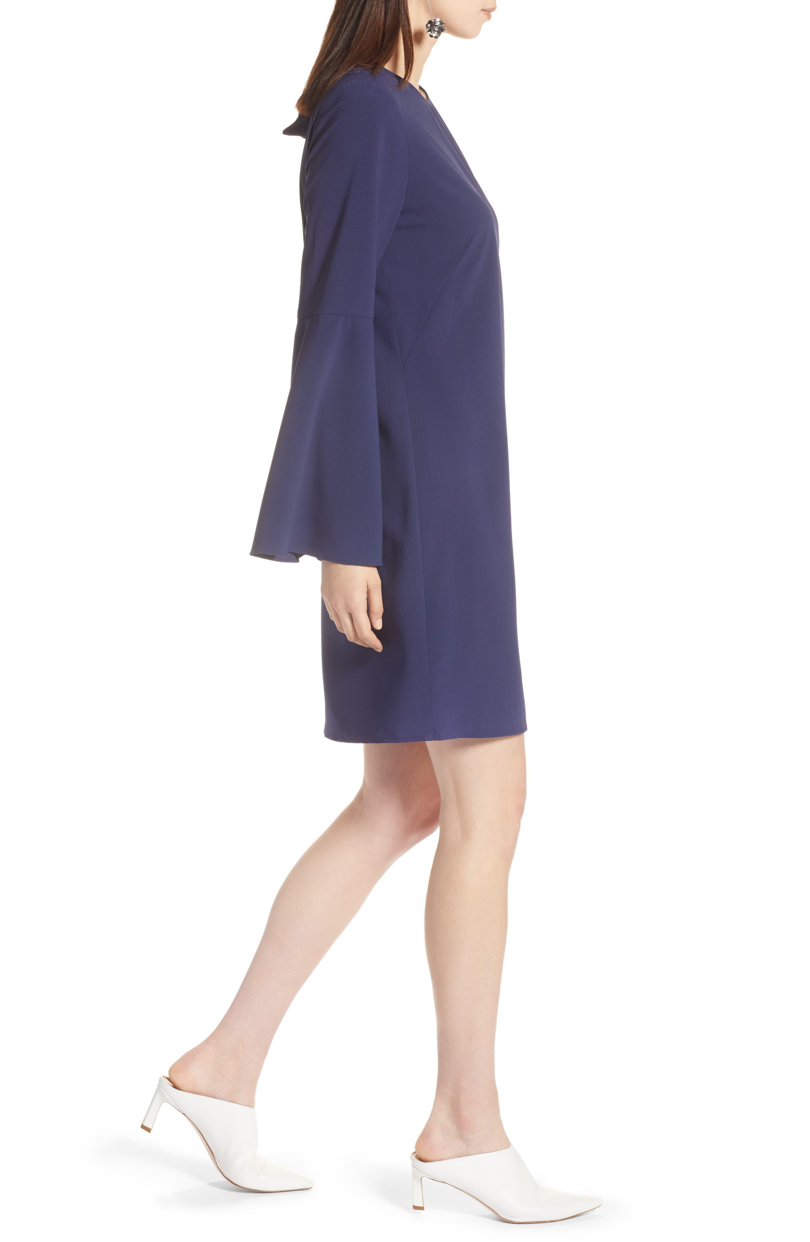 Bow Back Flare Sleeve Dress,                             Alternate thumbnail 3, color,                             410