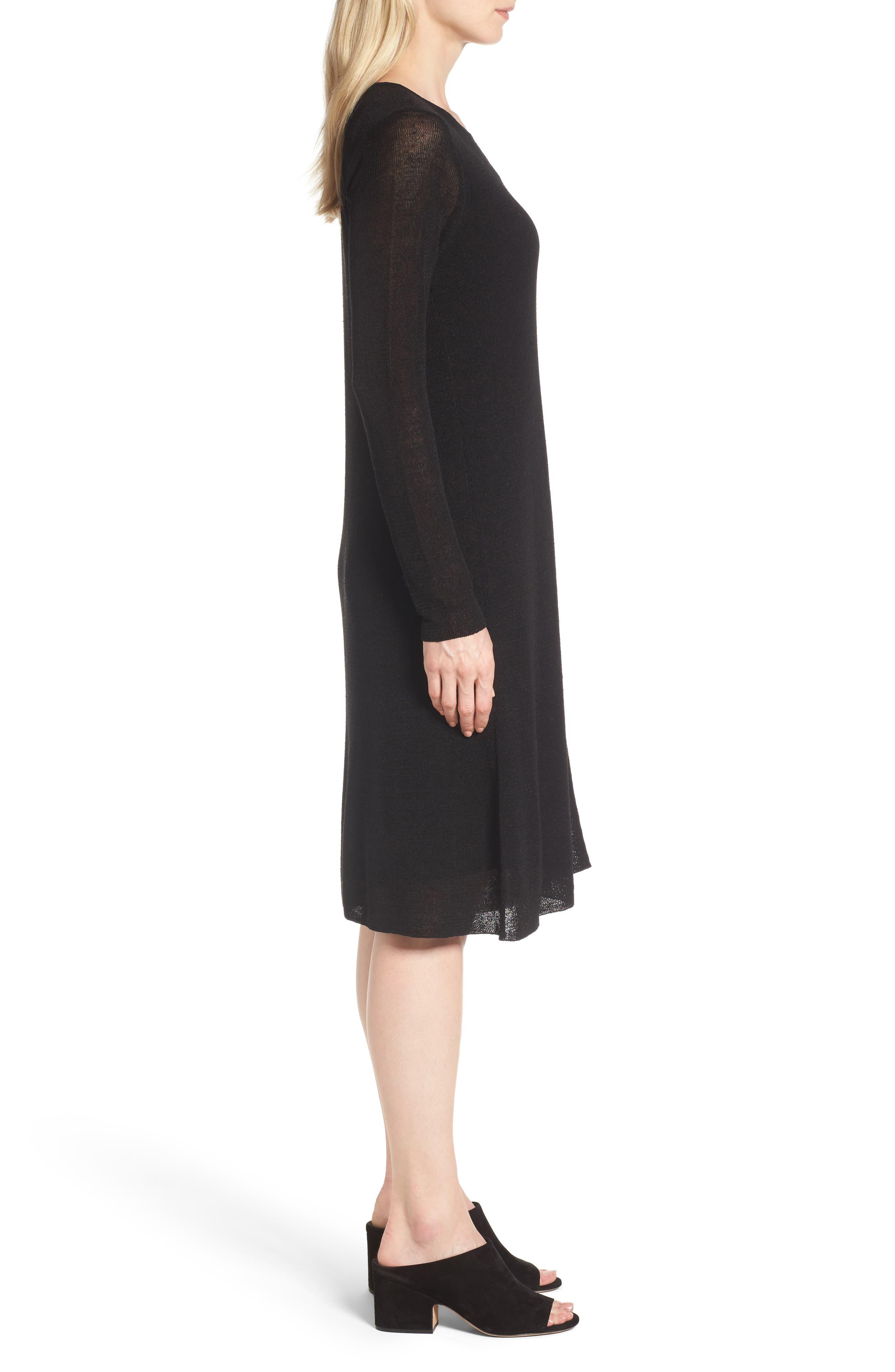 Organic Linen Blend A-Line Dress,                             Alternate thumbnail 3, color,                             001