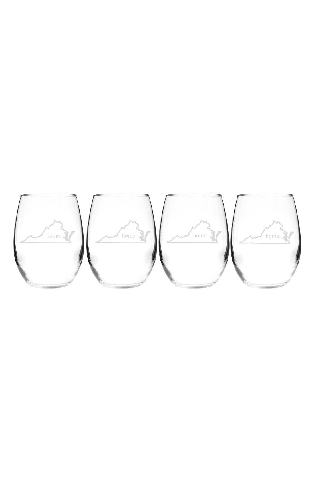 Home State Set of 4 Stemless Wine Glasses,                             Main thumbnail 45, color,