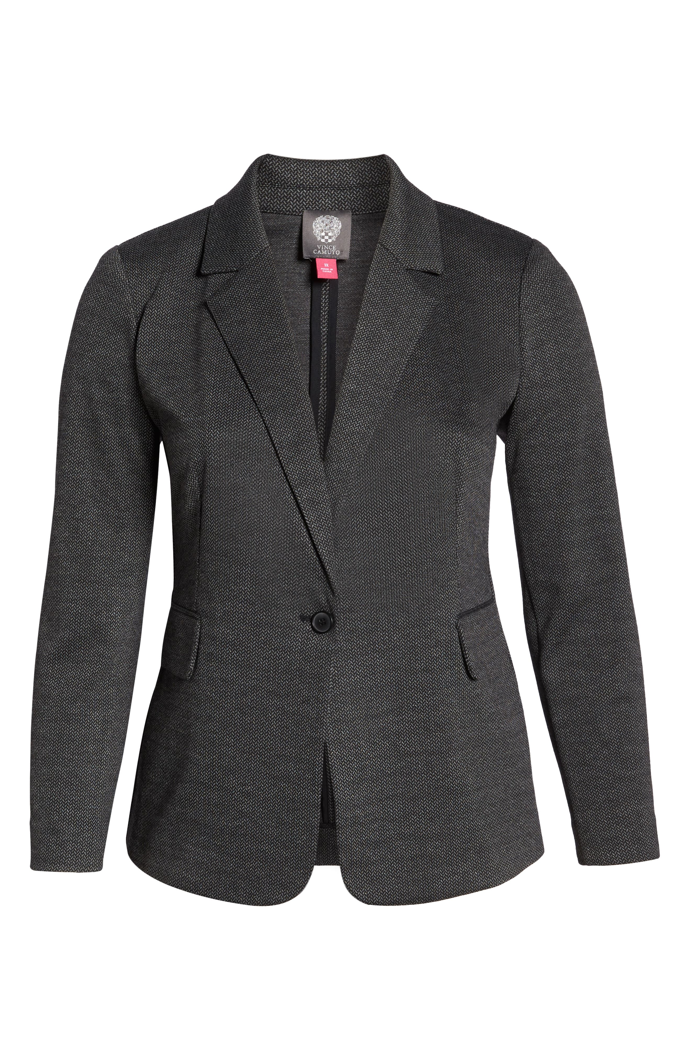 VINCE CAMUTO,                             Mélange Herringbone Single Button Blazer,                             Alternate thumbnail 6, color,                             RICH BLACK