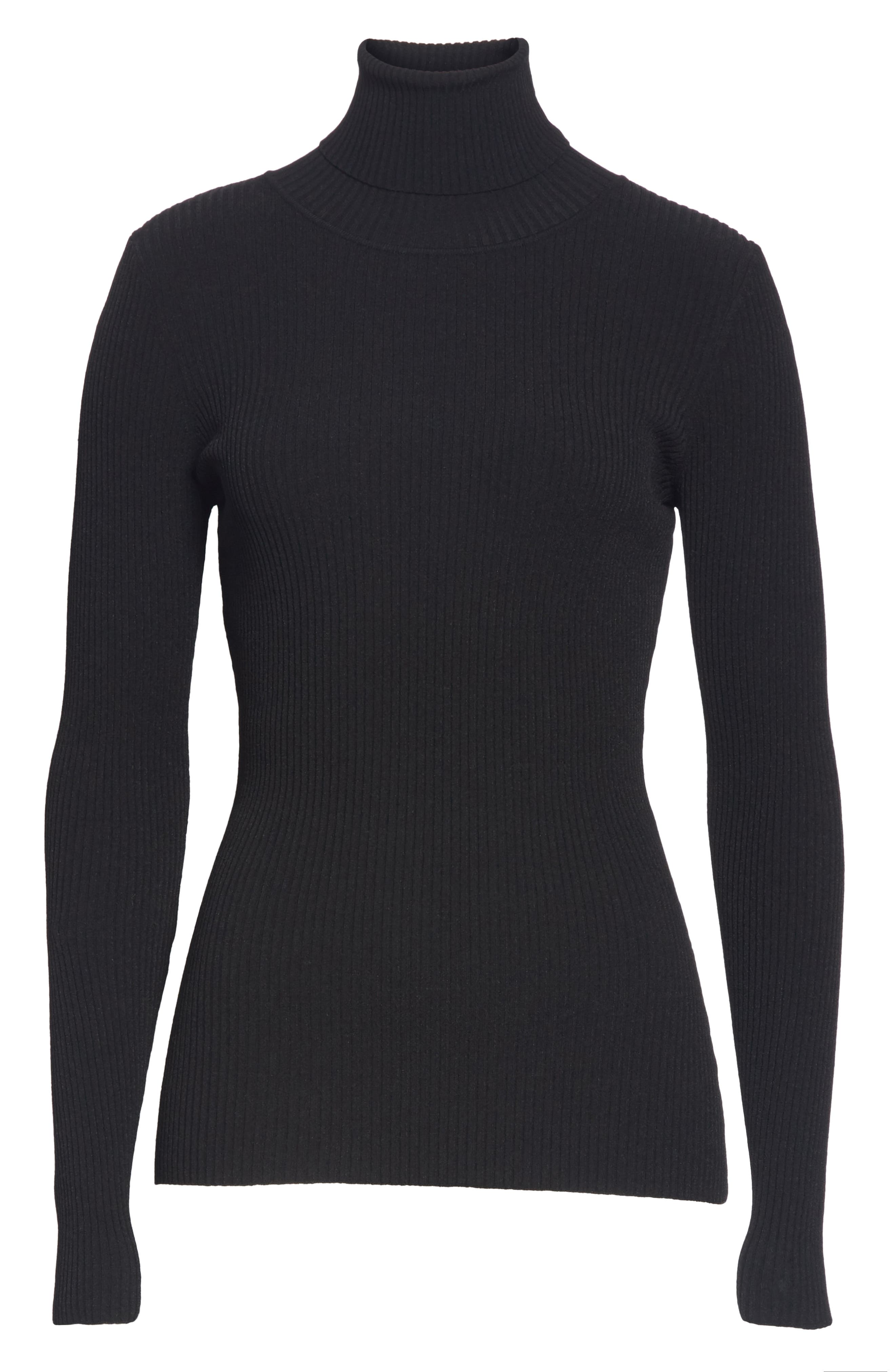 MILLY,                             Ribbed Turtleneck Sweater,                             Alternate thumbnail 6, color,                             001