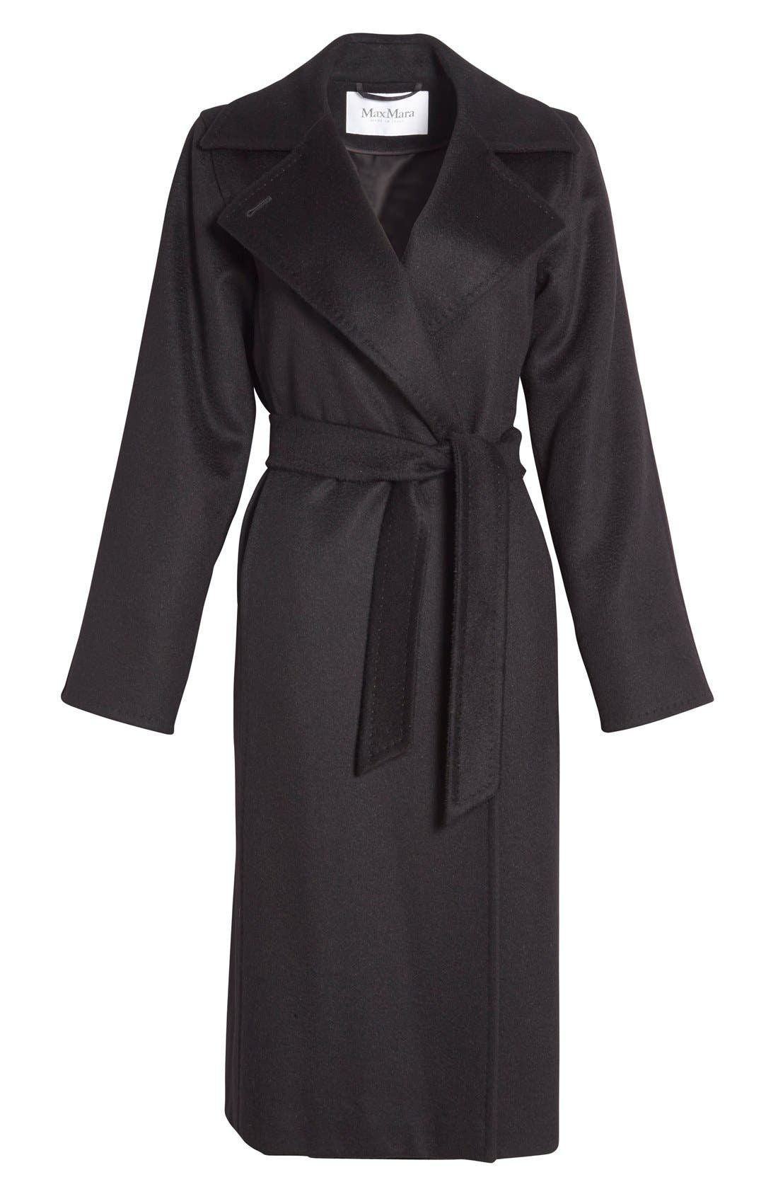 'Manuela' Camel Hair Coat,                             Alternate thumbnail 4, color,                             BLACK