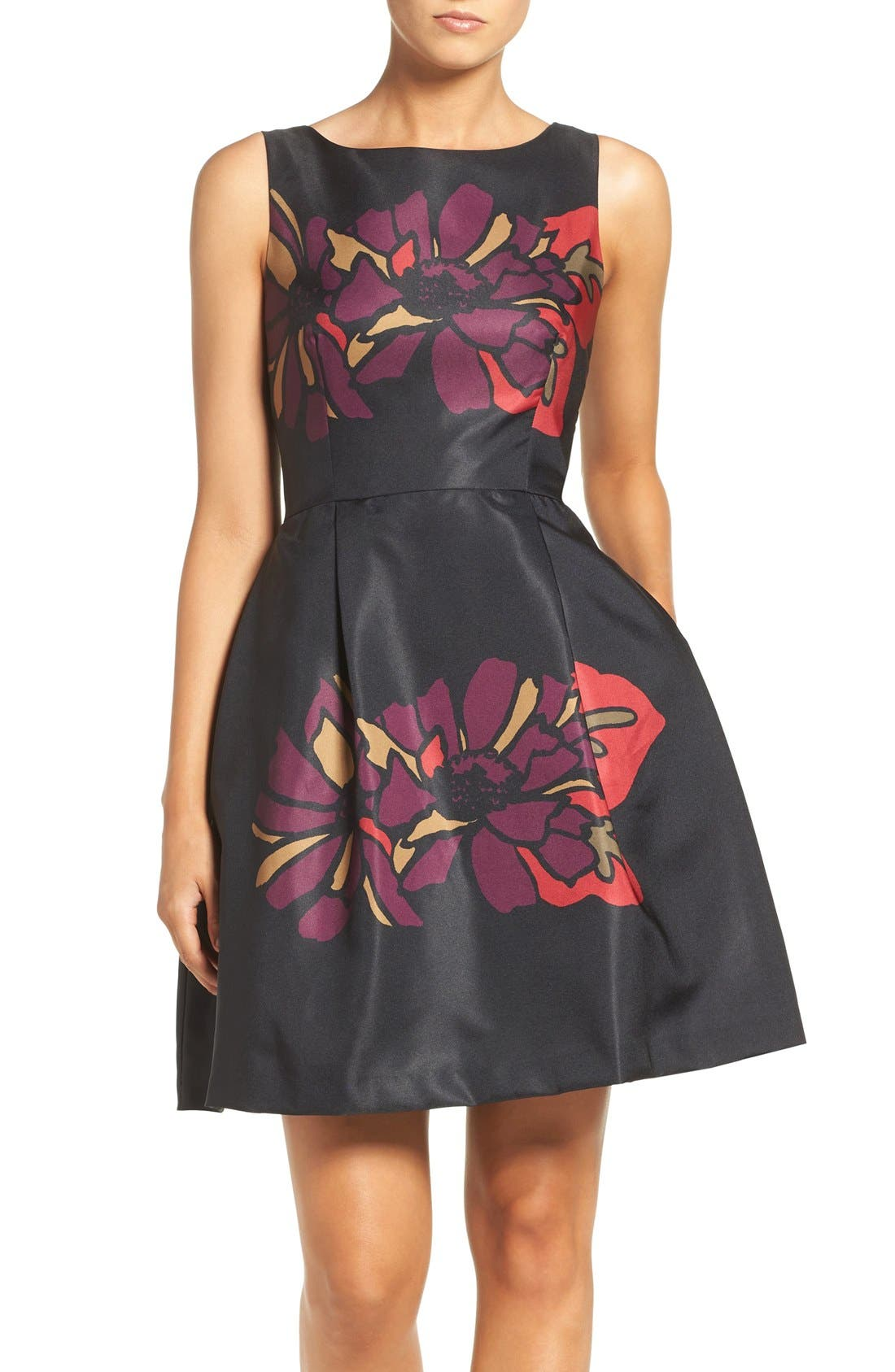 Placed Floral Fit & Flare Dress,                         Main,                         color, 011