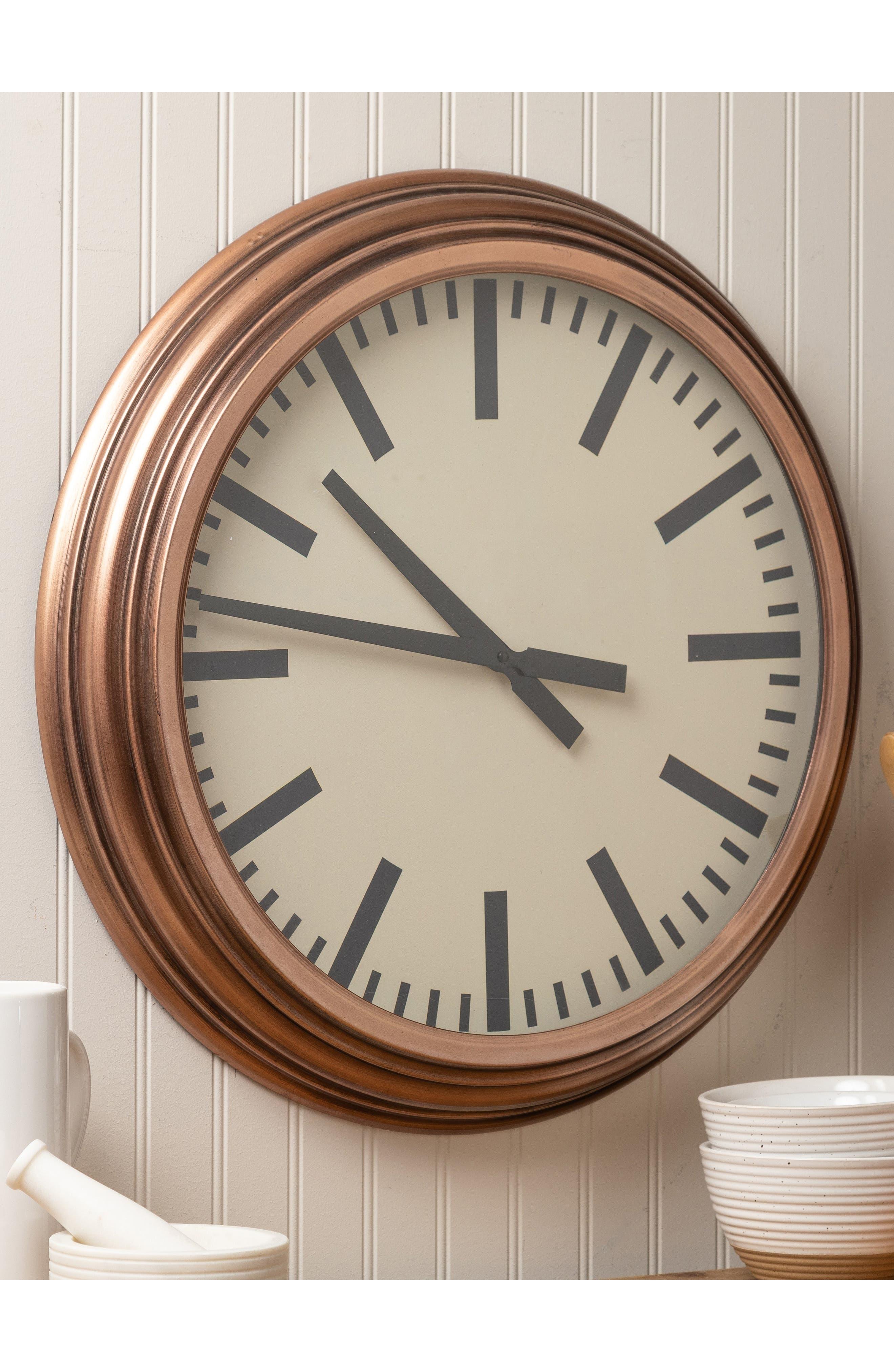Metal Wall Clock,                             Alternate thumbnail 2, color,                             METALLIC COPPER