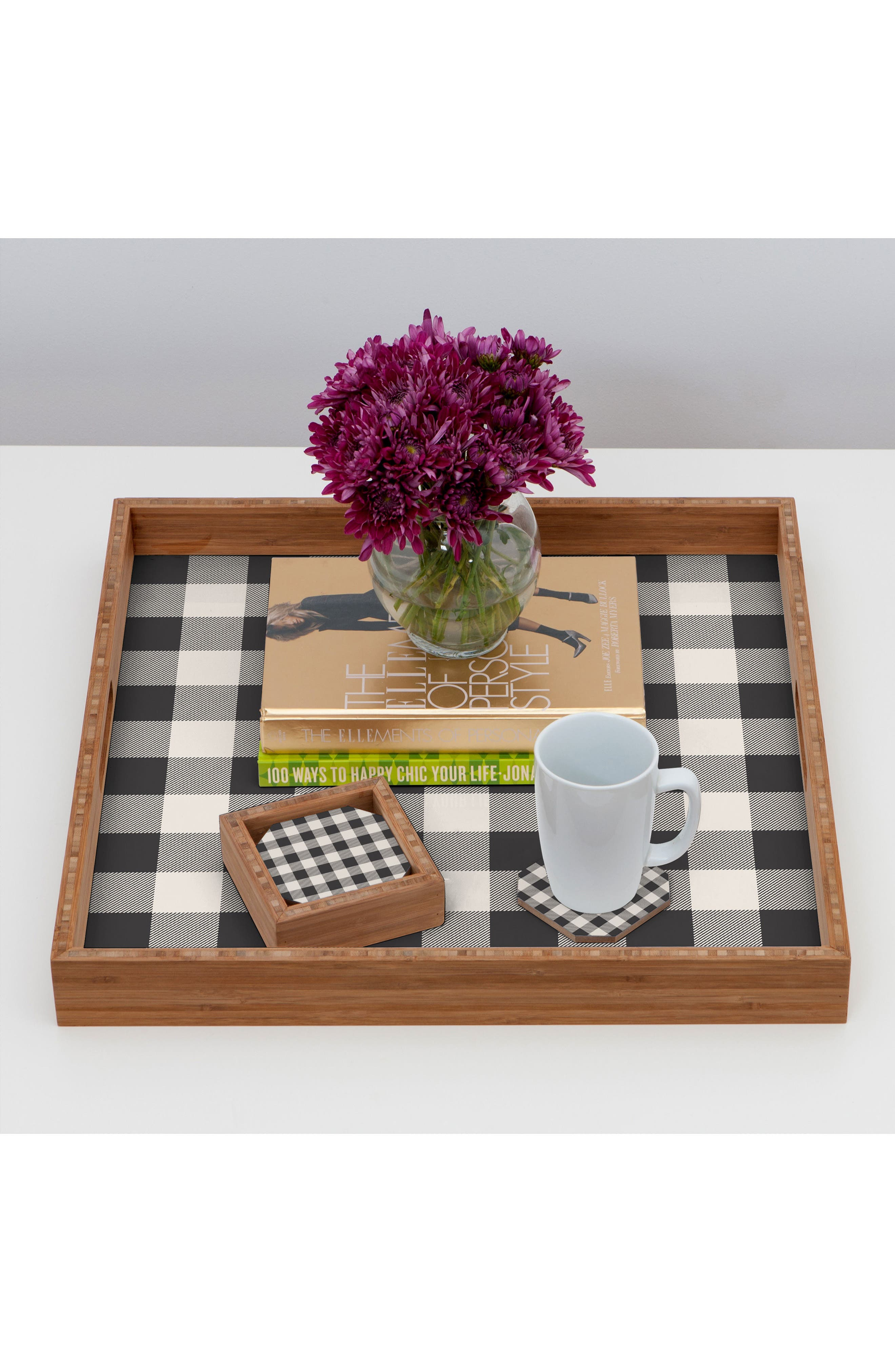 Gingham Set of 4 Coasters,                             Alternate thumbnail 2, color,                             400