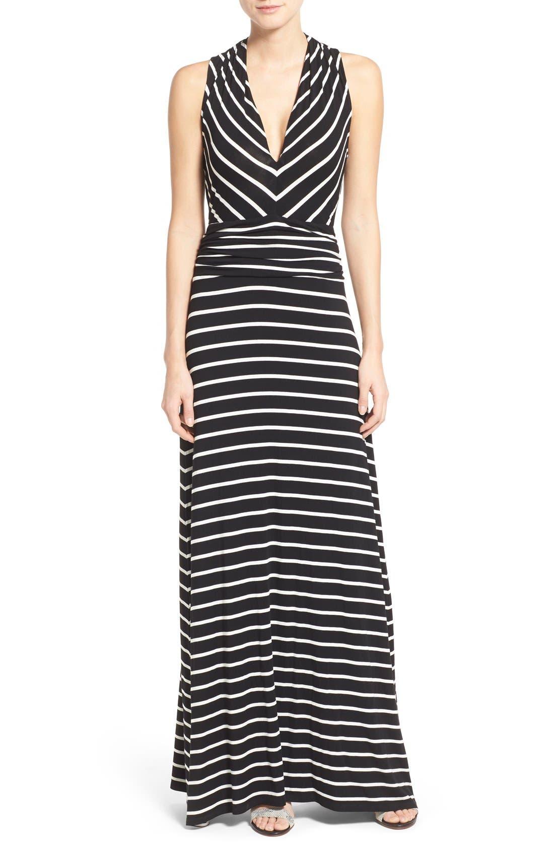Stripe V-Neck A-Line Maxi Dress,                         Main,                         color,
