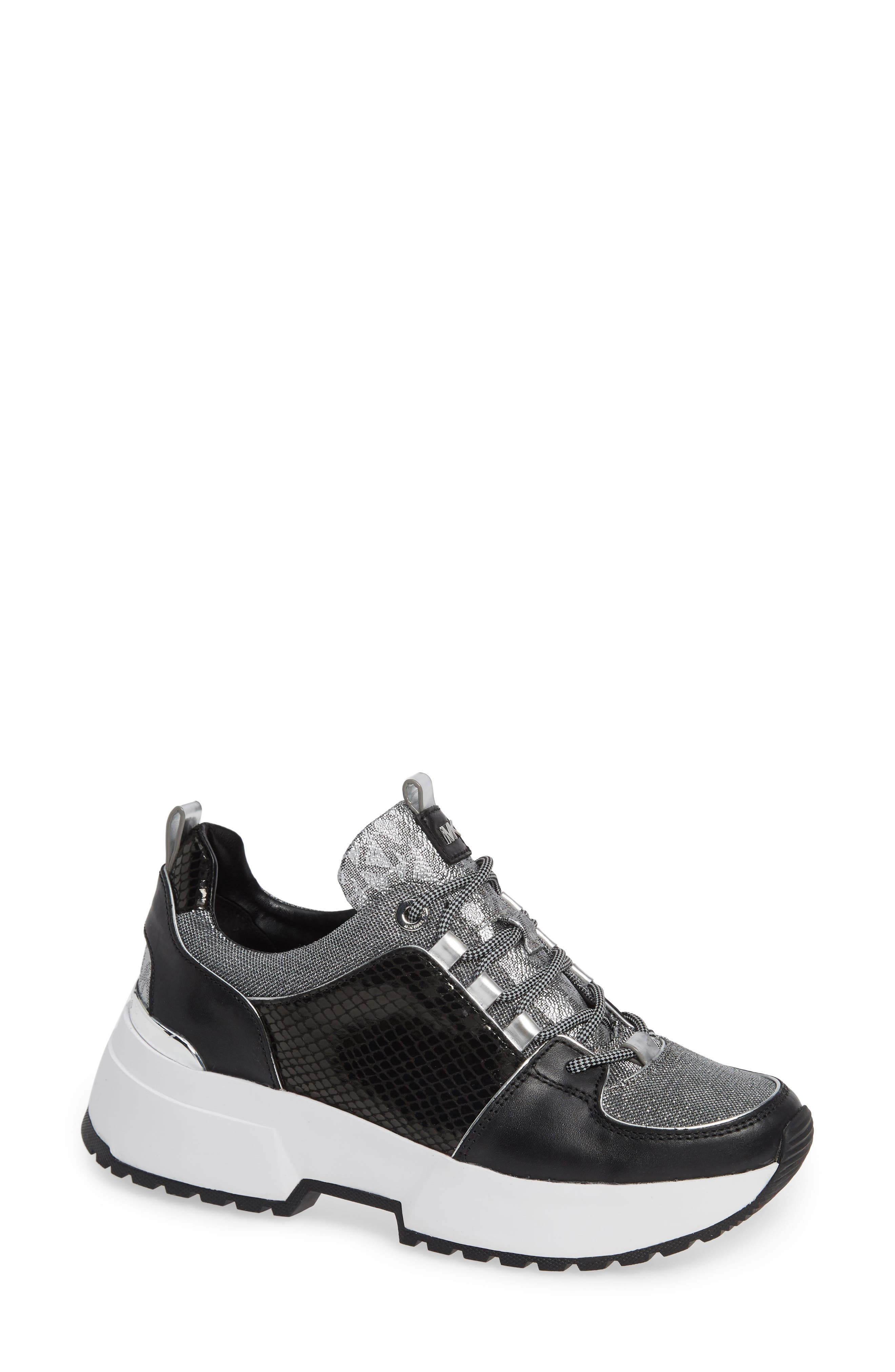 Women'S Cosmo Mixed Media Lace-Up Sneakers in Black/ Silver Multi
