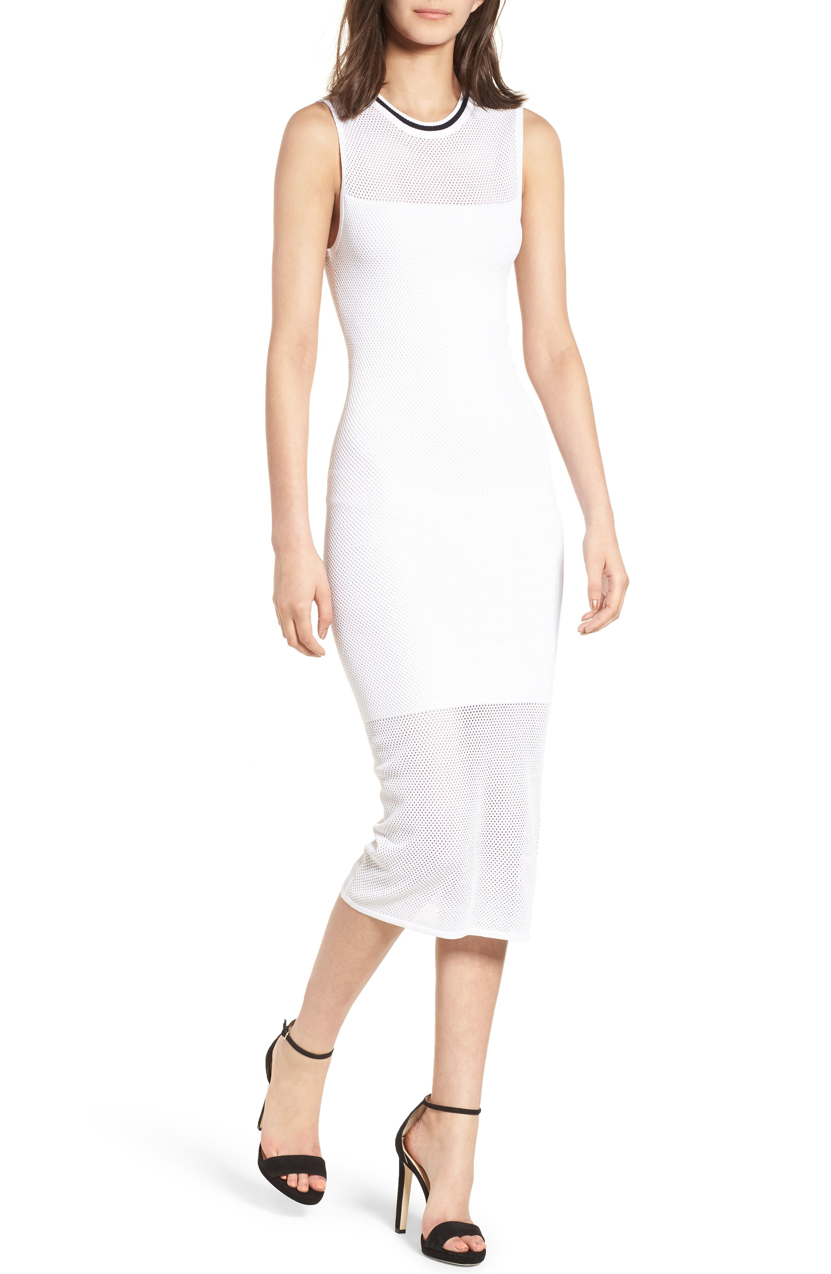 Stripe Mesh Midi Dress,                             Main thumbnail 2, color,