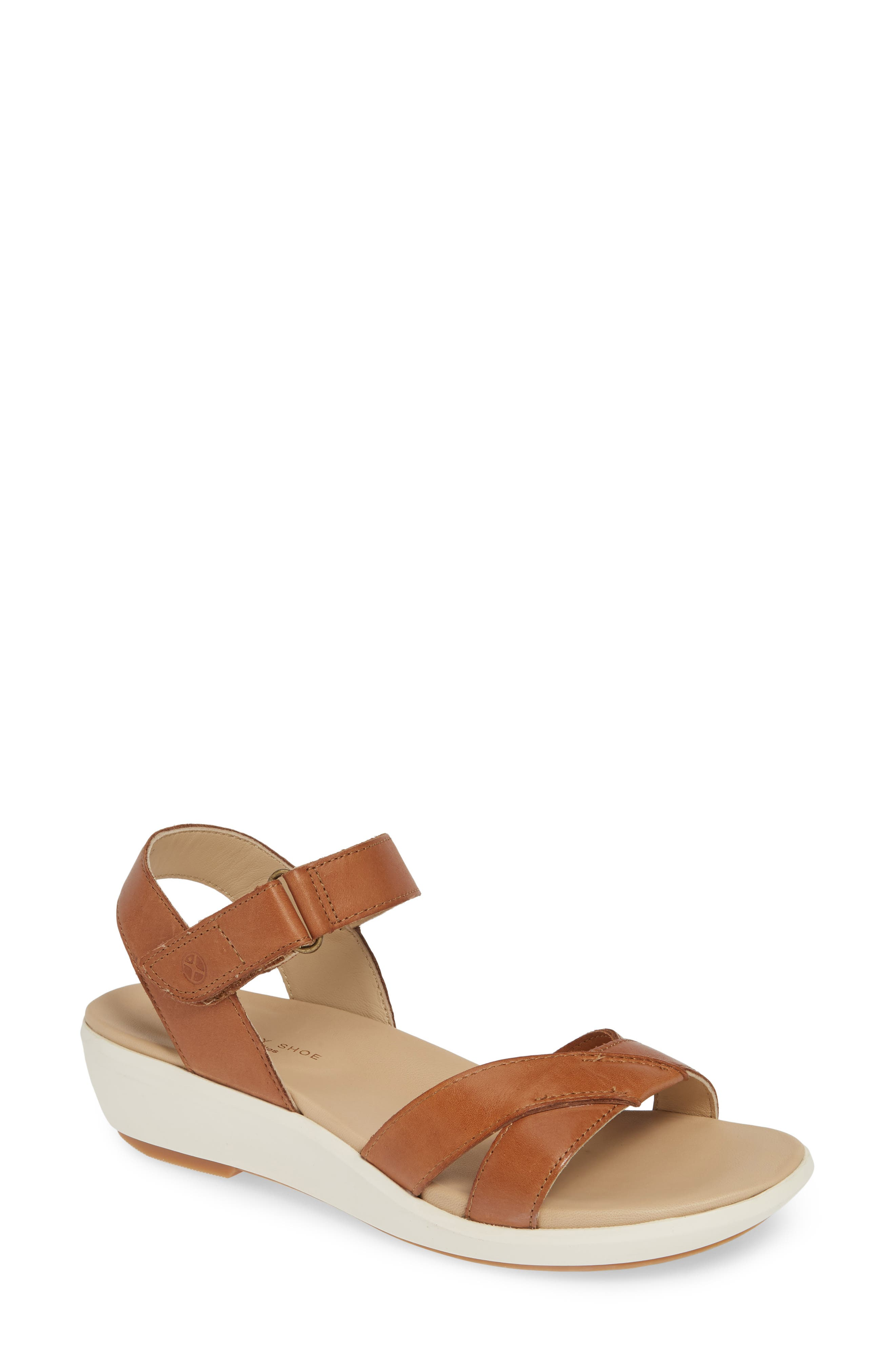 Lyricale Wedge Sandal, Main, color, TAN LEATHER