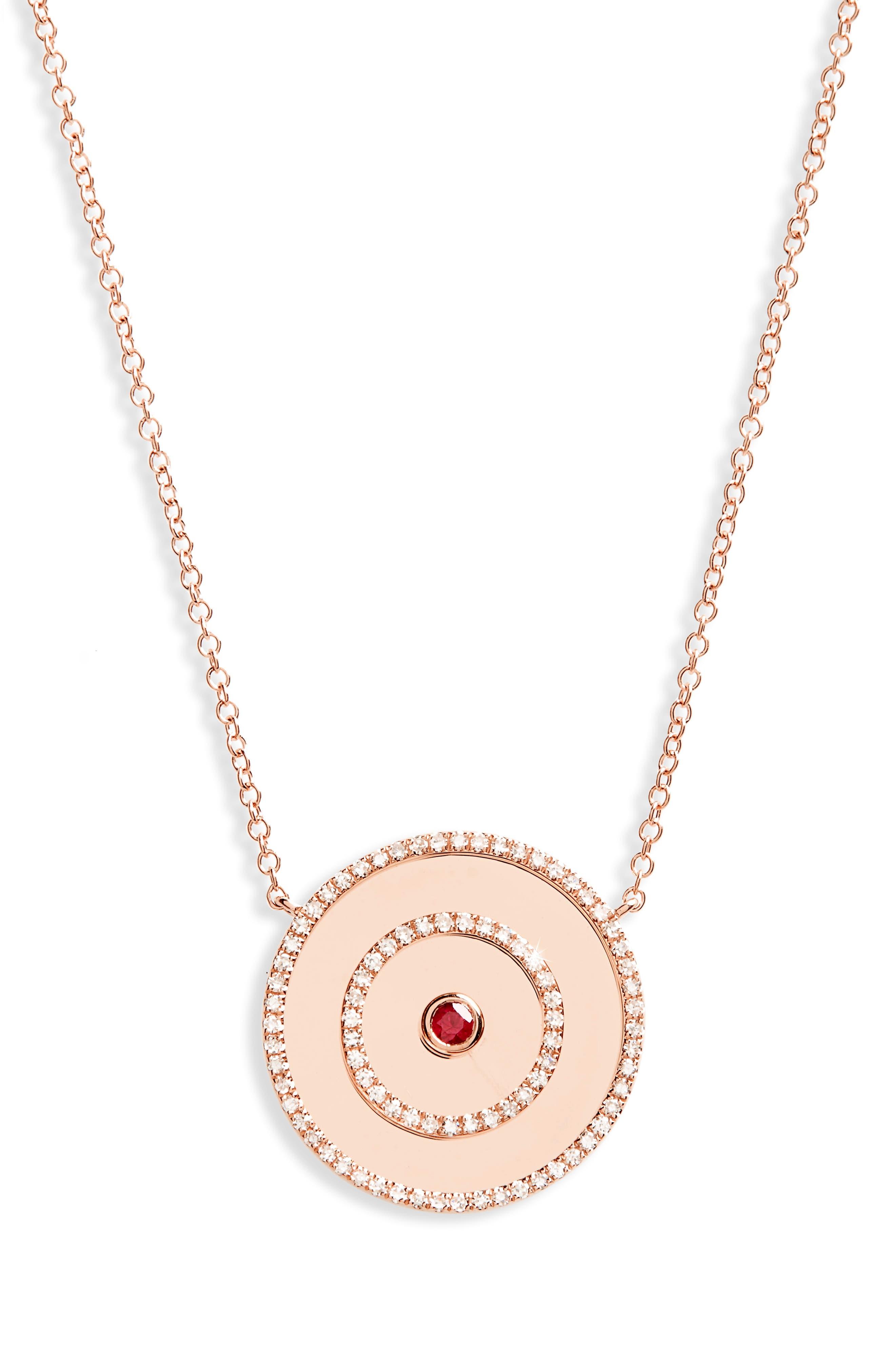 Bullseye Diamond Pendant Necklace,                         Main,                         color,