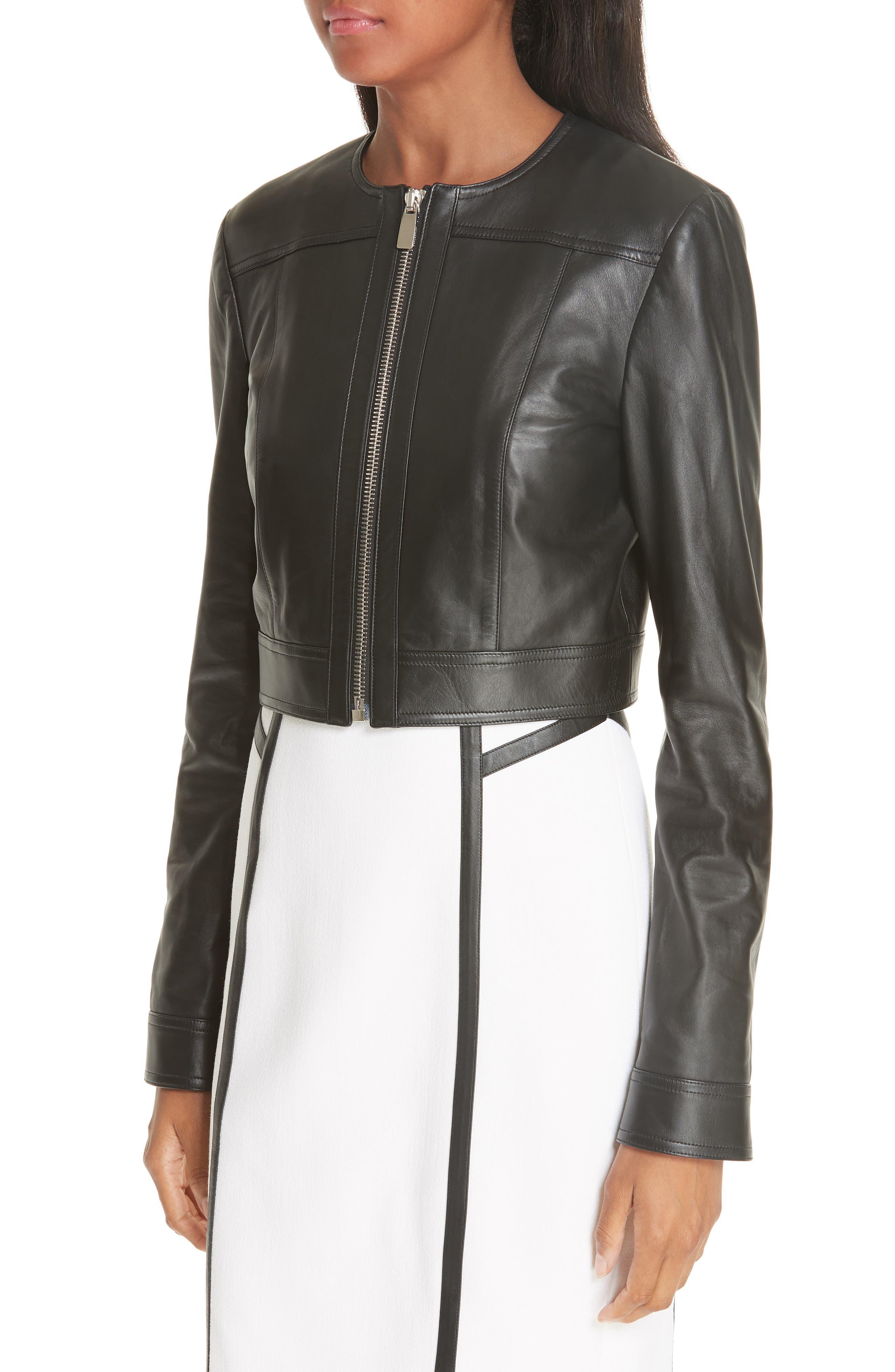 Crop Plongé Leather Jacket,                             Alternate thumbnail 4, color,                             BLACK