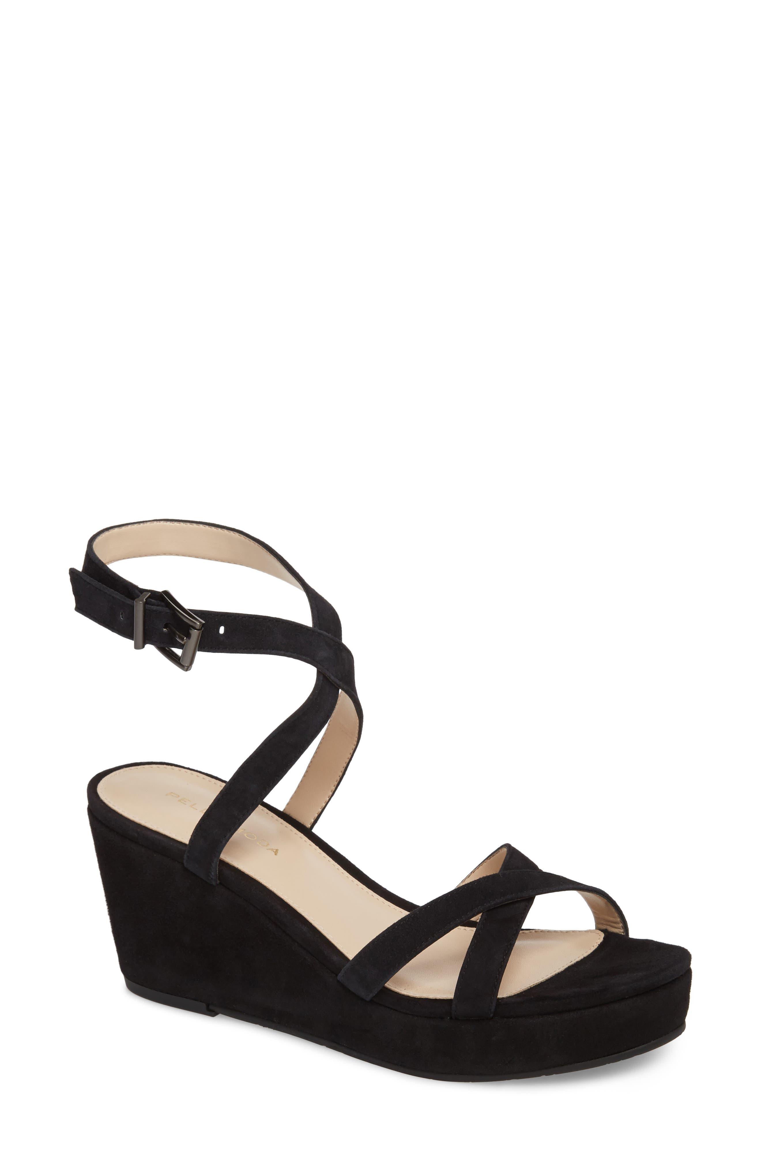 Keo2 Platform Wedge Sandal,                             Main thumbnail 1, color,                             BLACK SUEDE