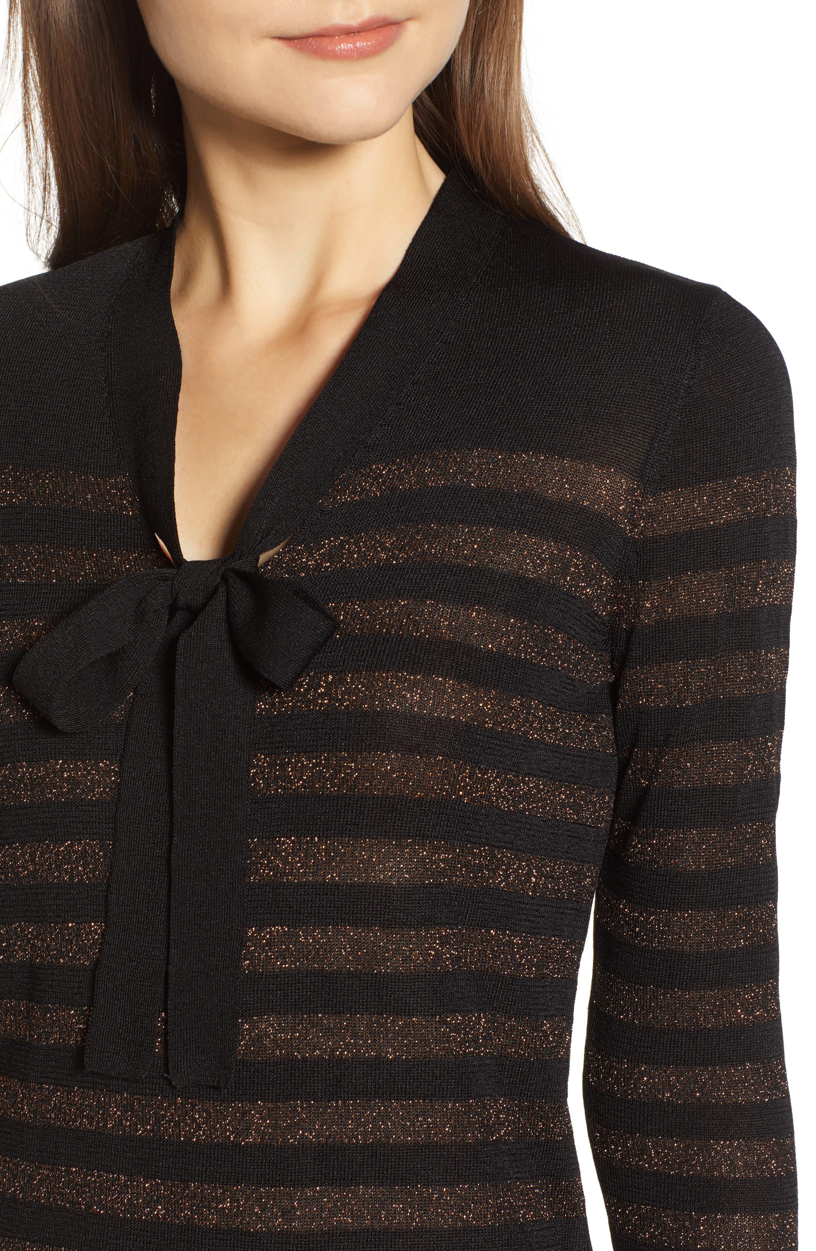 Metallic Stripe Bow Front Sweater,                             Alternate thumbnail 4, color,                             ANNE BLACK/ COPPER
