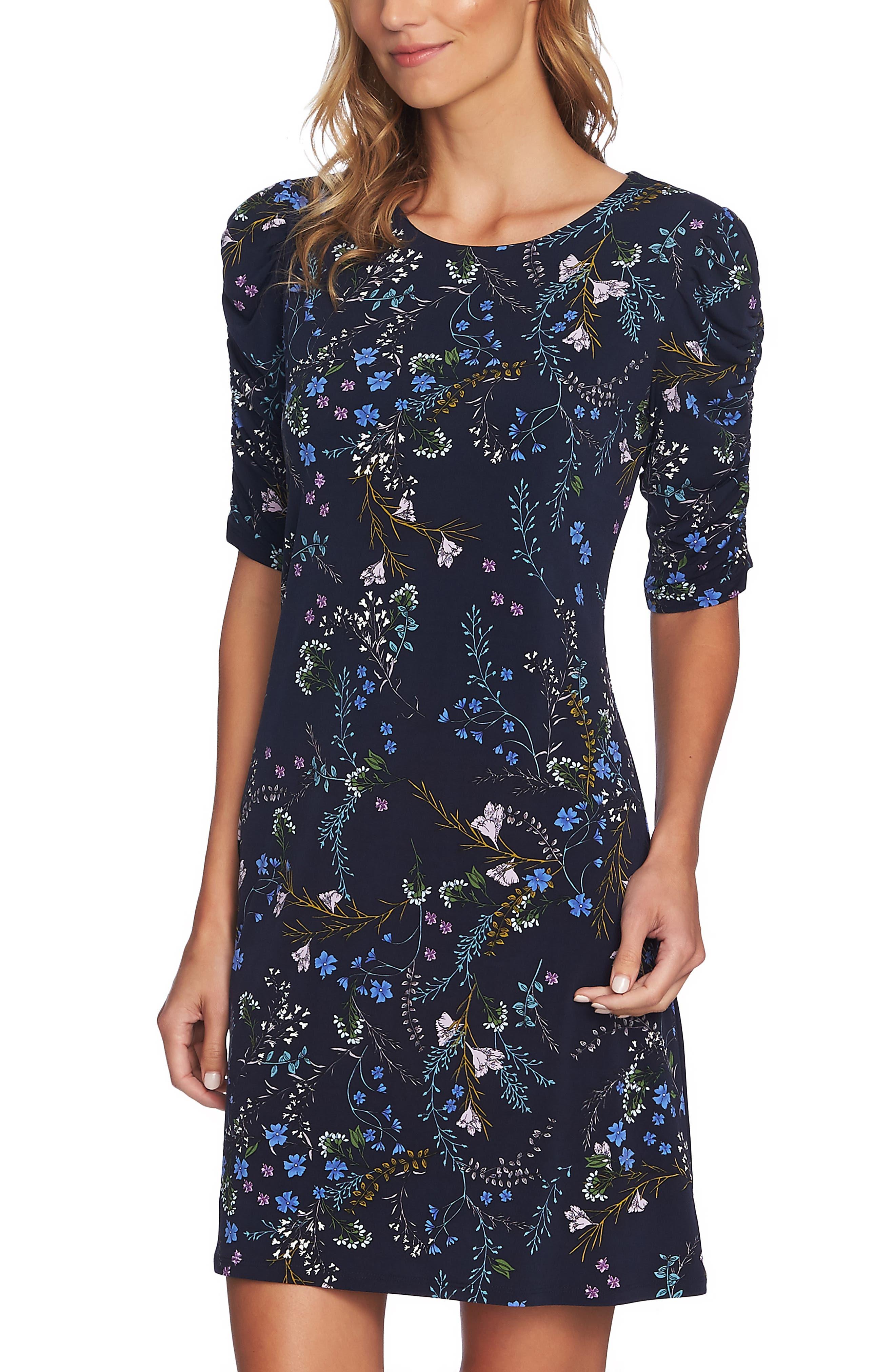 Ruched Sleeve Floral Vine Dress,                             Alternate thumbnail 3, color,                             CAVIAR
