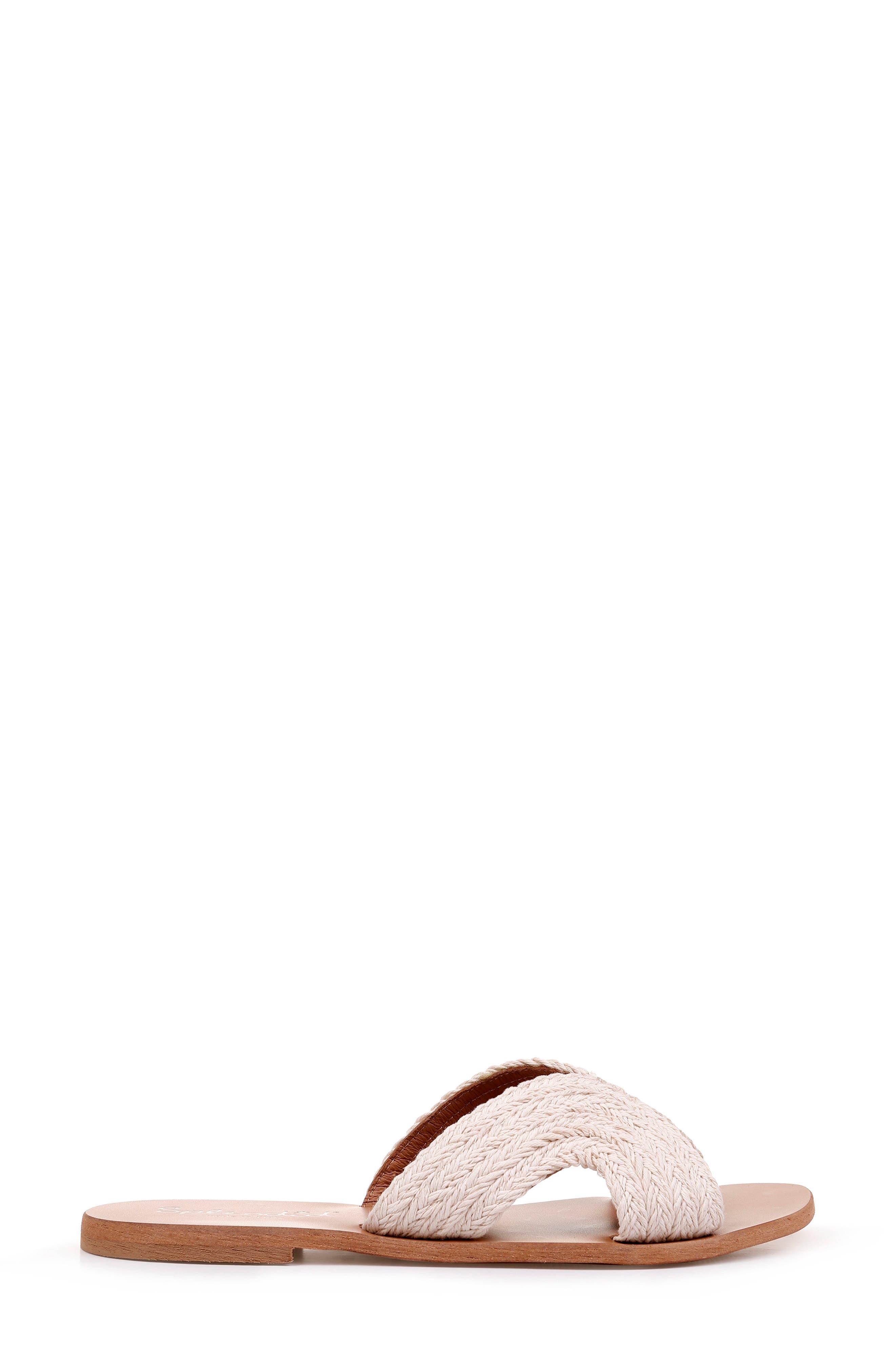 Sydney Woven Slide Sandal,                             Alternate thumbnail 3, color,                             CREAM FABRIC