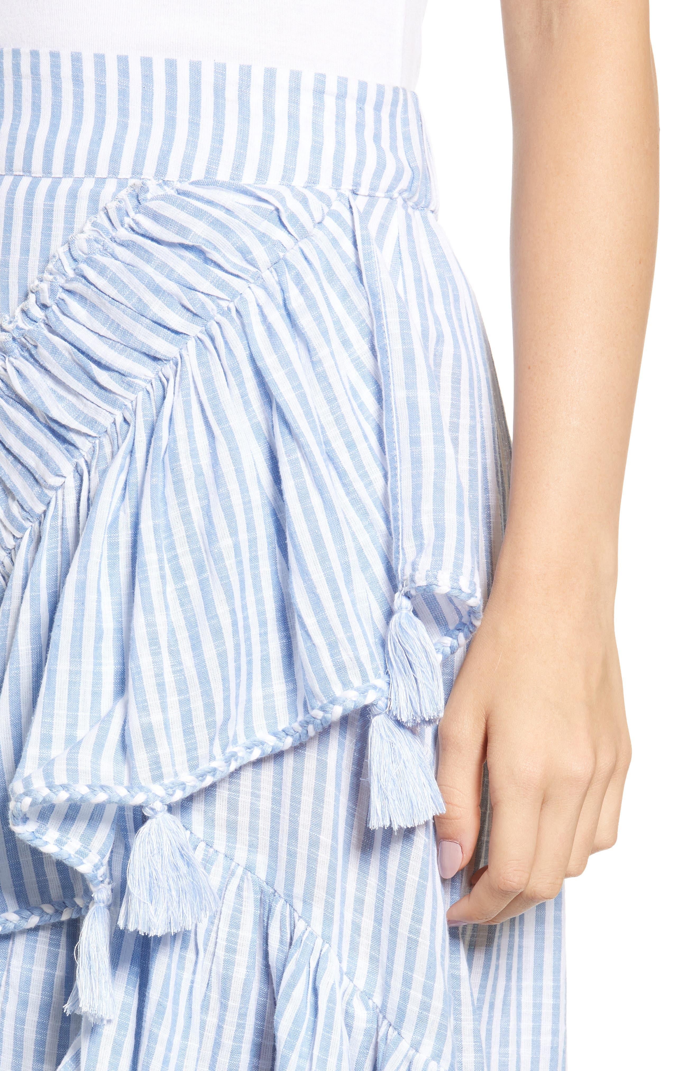 Rosero Ruffle High/Low Skirt,                             Alternate thumbnail 4, color,                             BLUE STRIPE