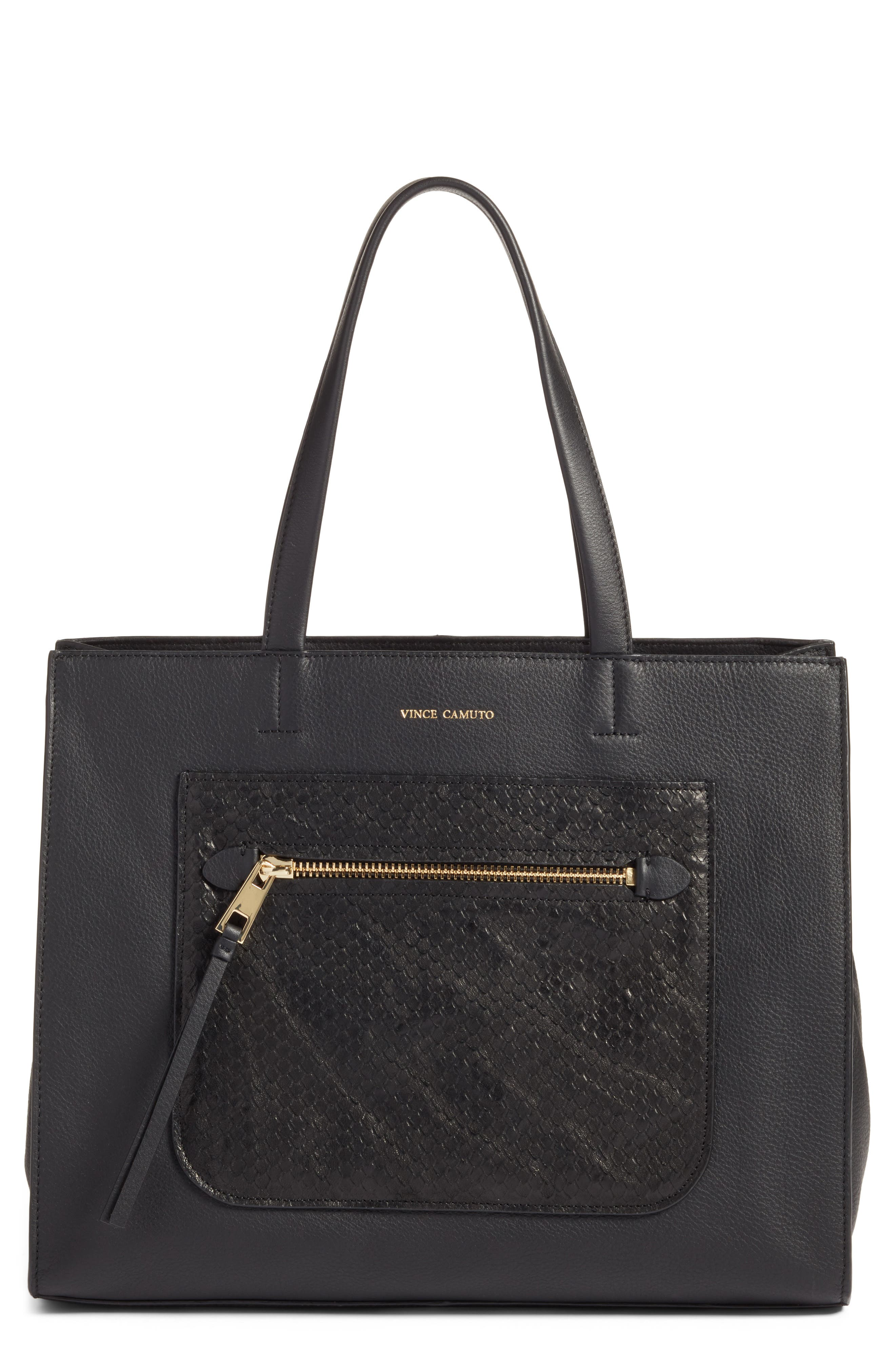 VINCE CAMUTO,                             Elvan Leather Tote,                             Main thumbnail 1, color,                             001