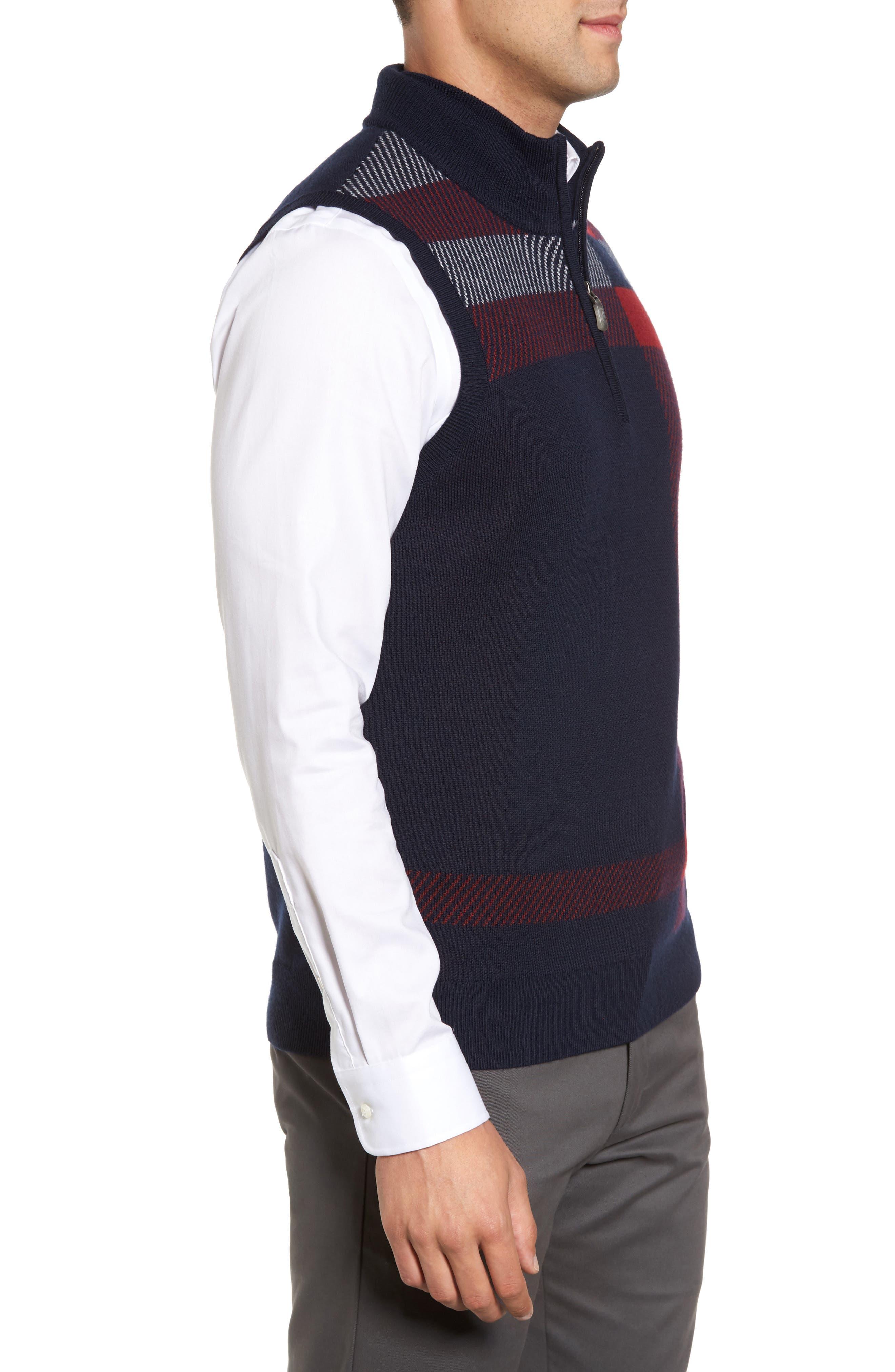 Oversize Plaid Wool Vest,                             Alternate thumbnail 6, color,