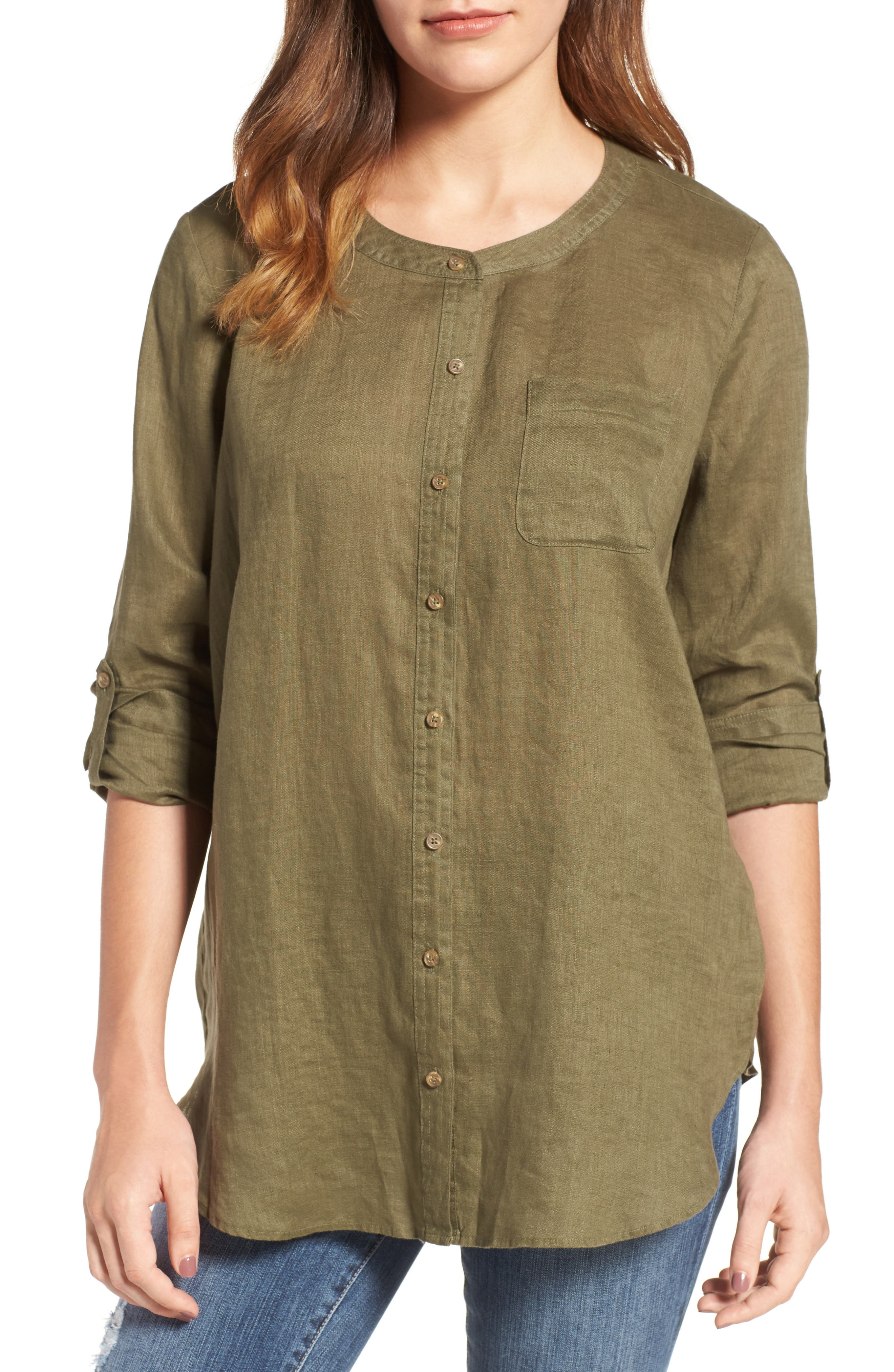 Two by Vince Camuto Collarless Linen Shirt,                             Main thumbnail 3, color,