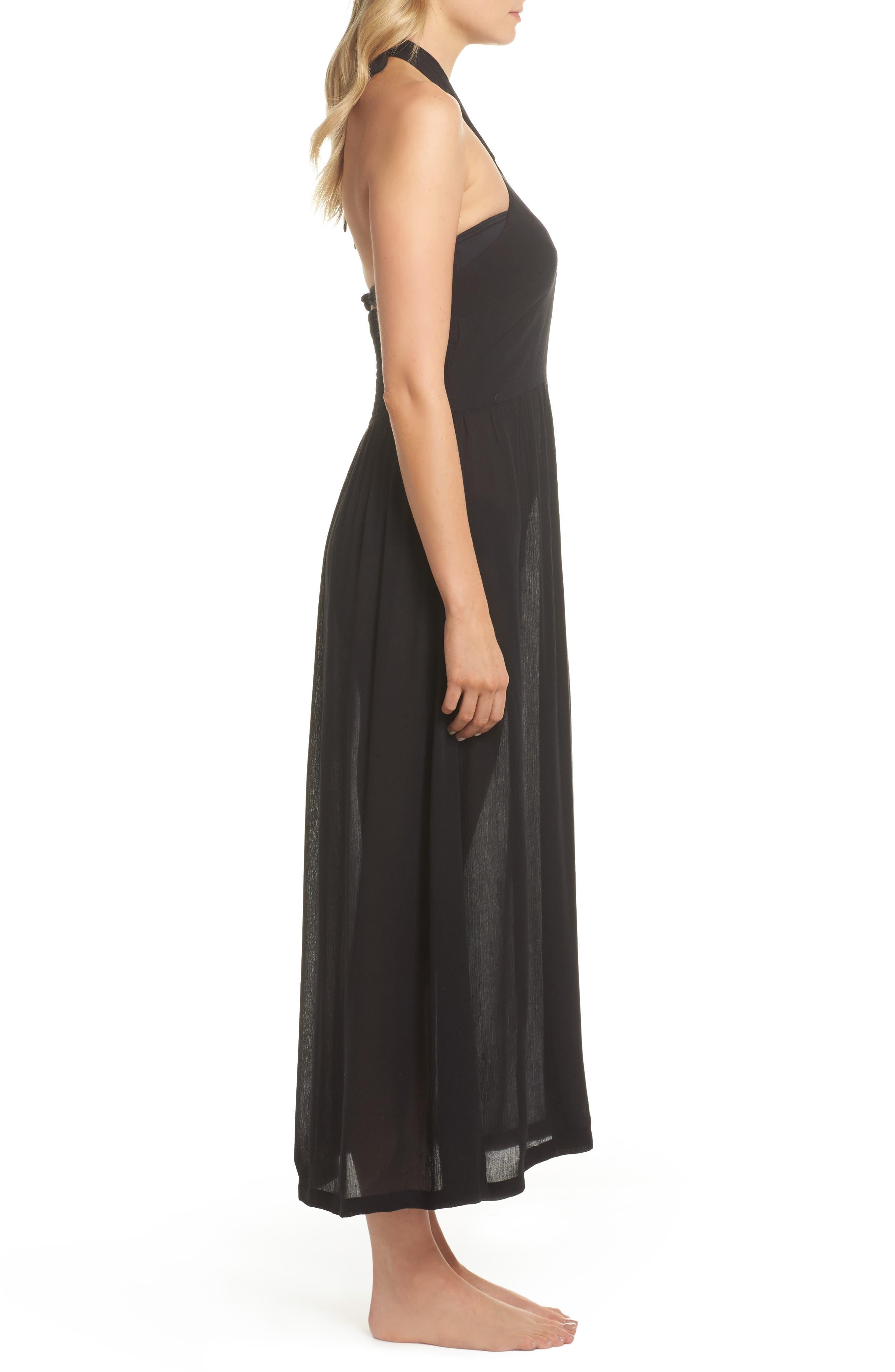 Midi Tie Back Cover-Up Dress,                             Alternate thumbnail 3, color,                             001