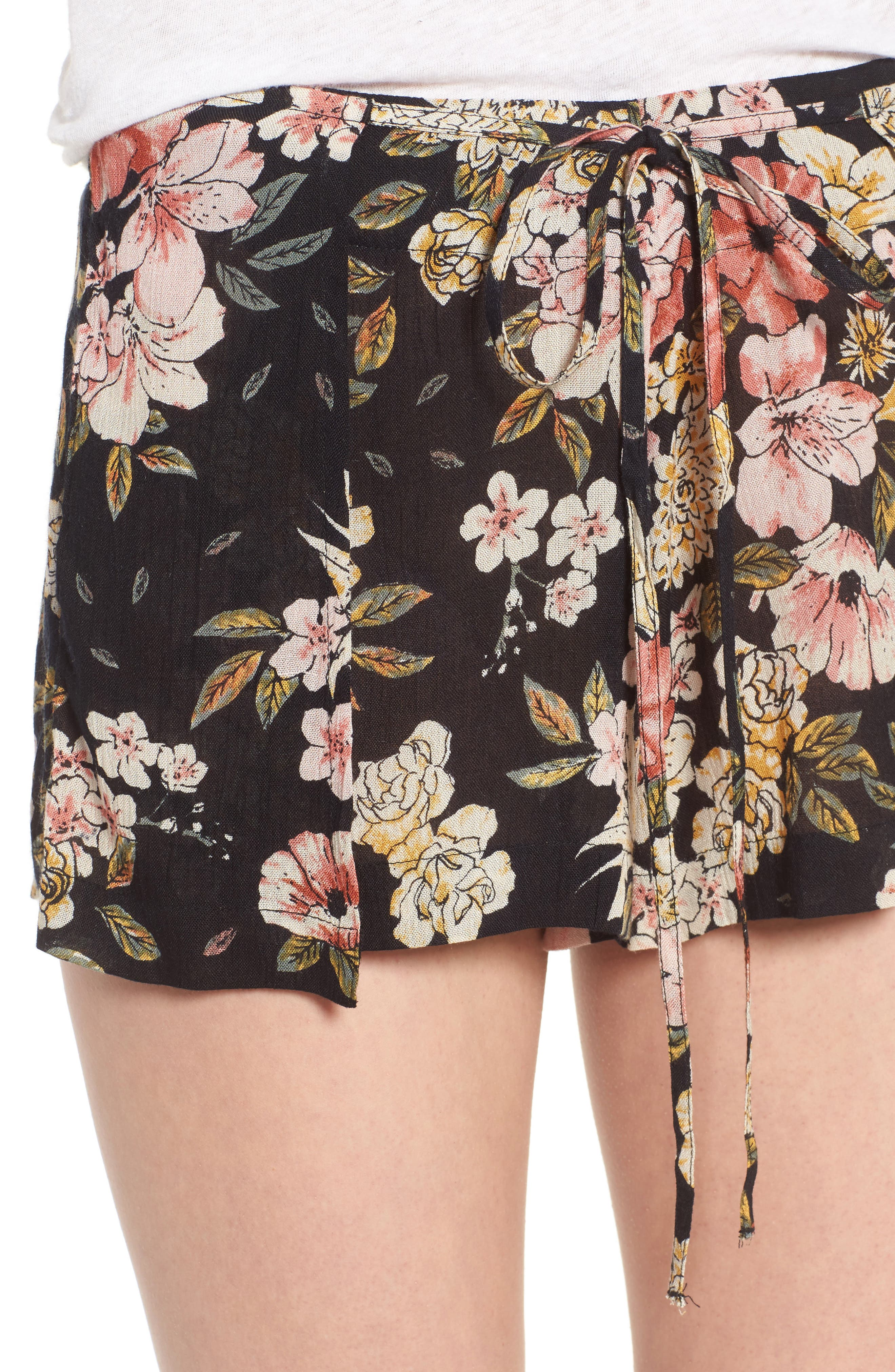 Trippy Day Floral Print Shorts,                             Alternate thumbnail 4, color,                             001