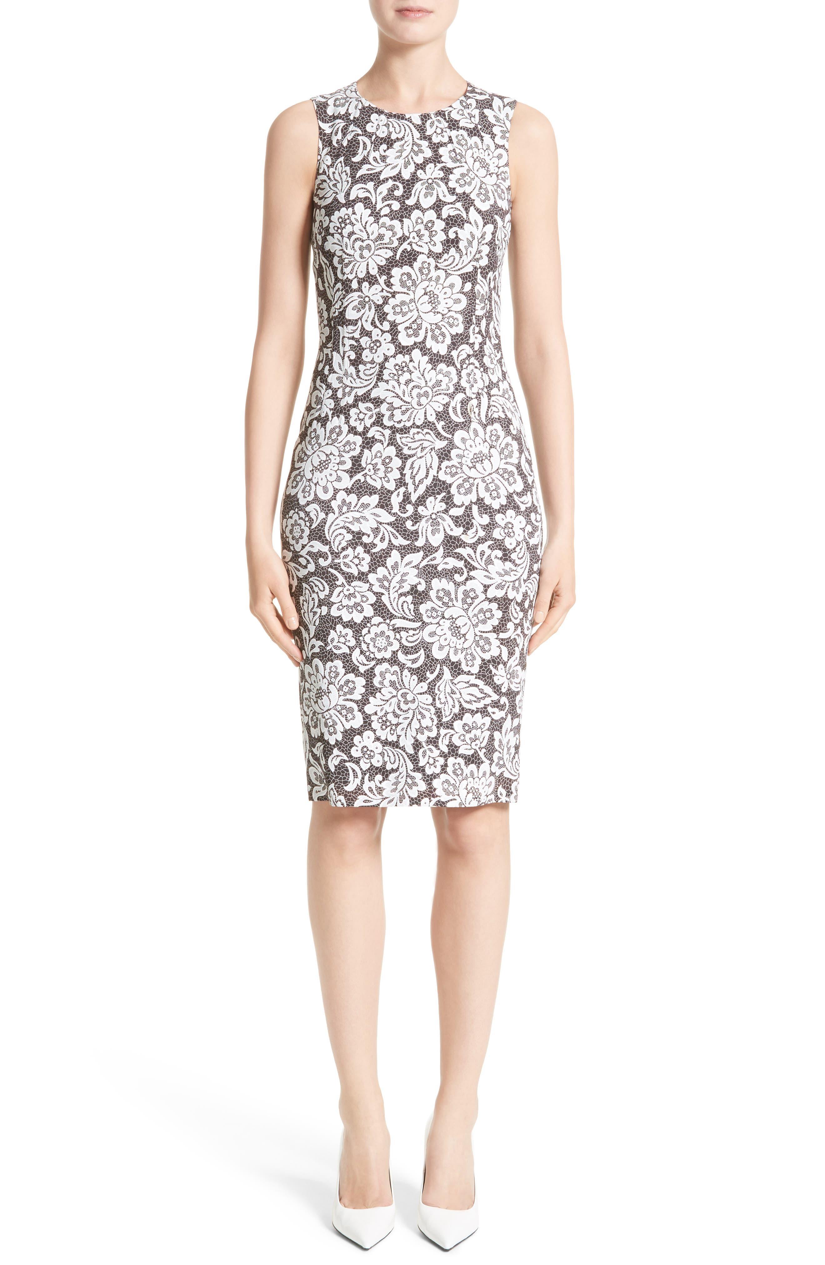 Stretch Cady Lace Print Sheath Dress,                         Main,                         color, 001