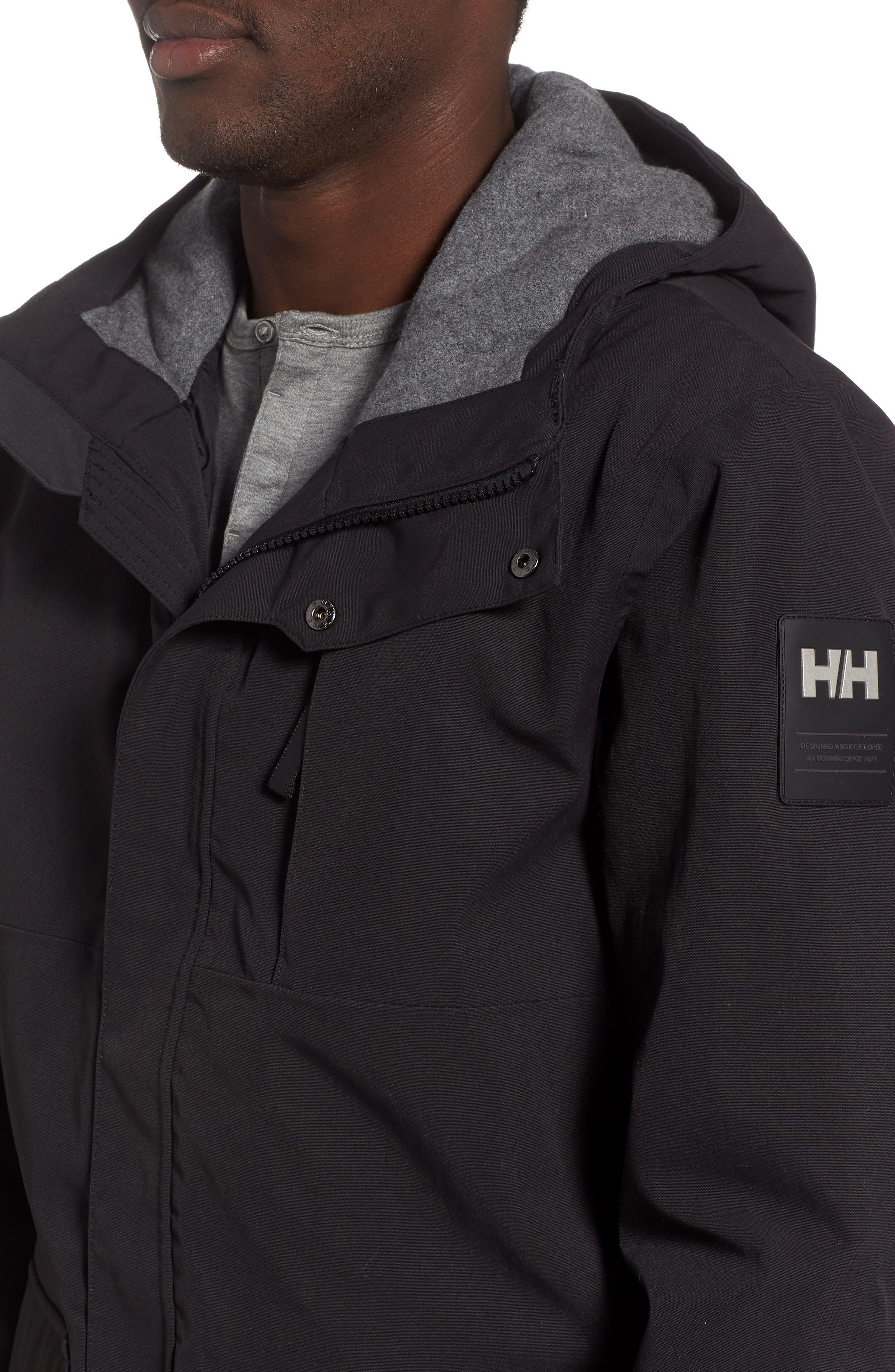 Urban Windproof & Waterproof Primaloft<sup>®</sup> Long Jacket,                             Alternate thumbnail 4, color,                             BLACK