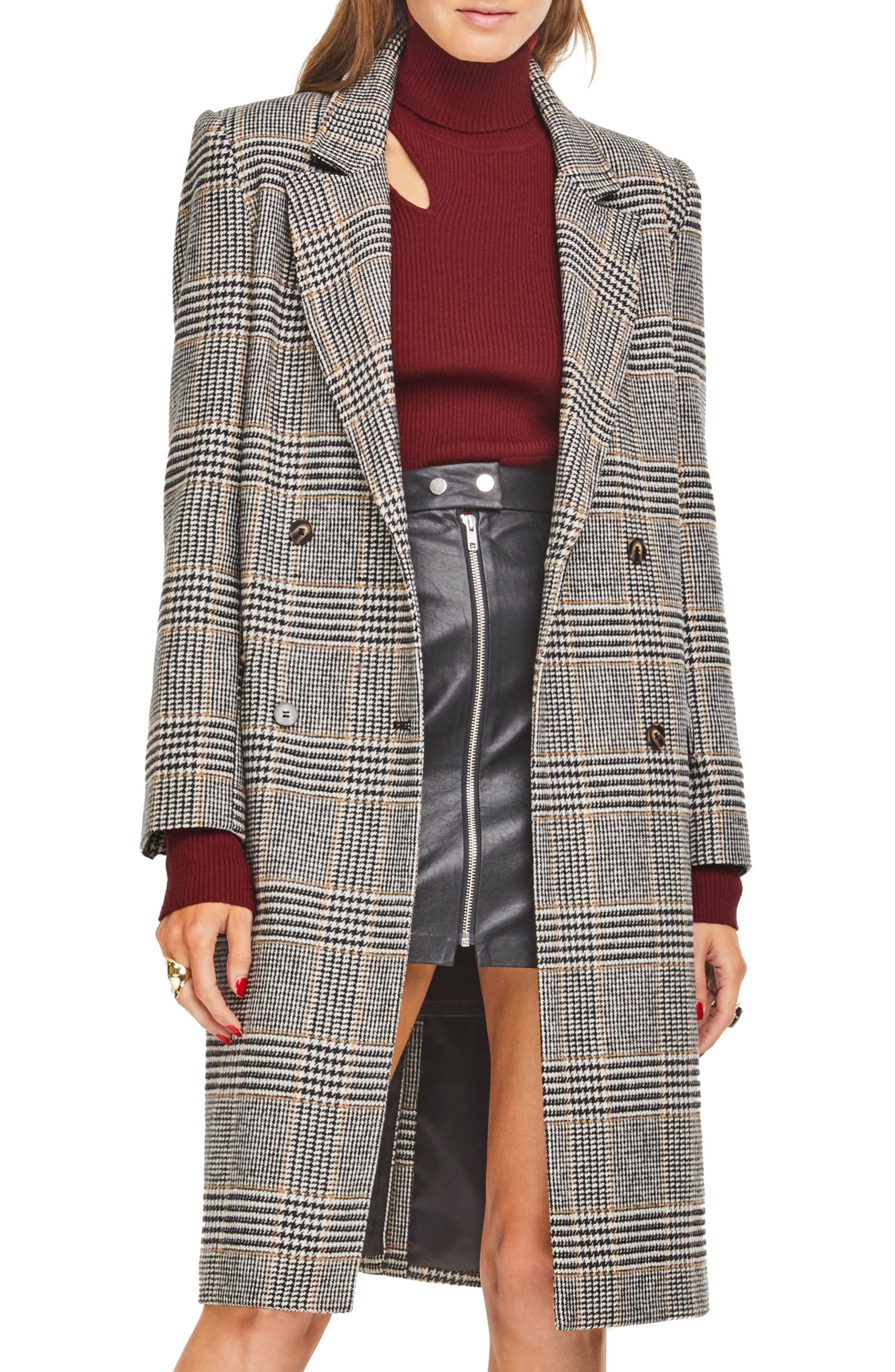 Kensington Plaid Long Coat,                             Main thumbnail 1, color,                             BLACK/ MUSTARD PLAID