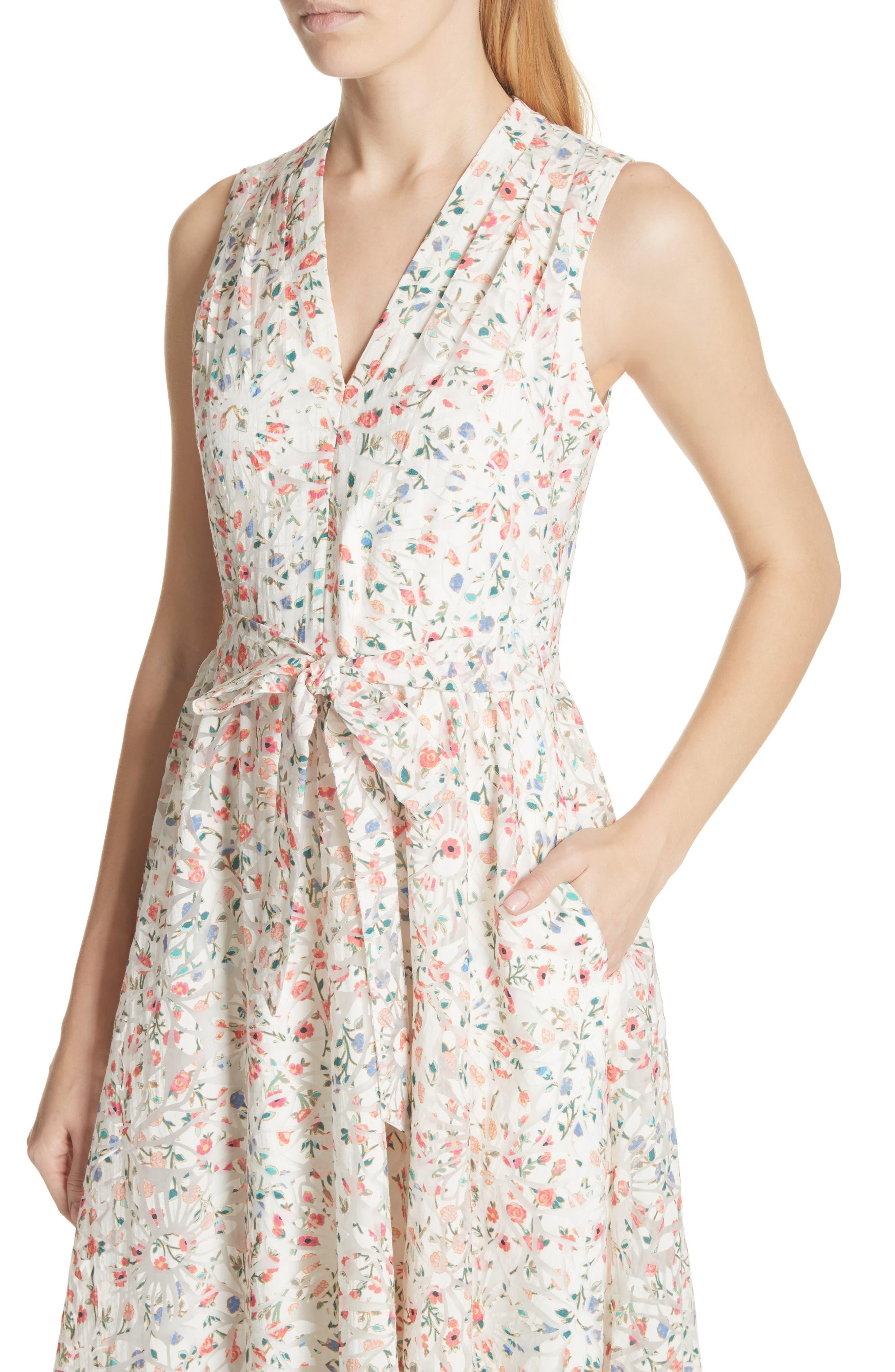mini bloom burnout midi dress,                             Alternate thumbnail 4, color,                             252