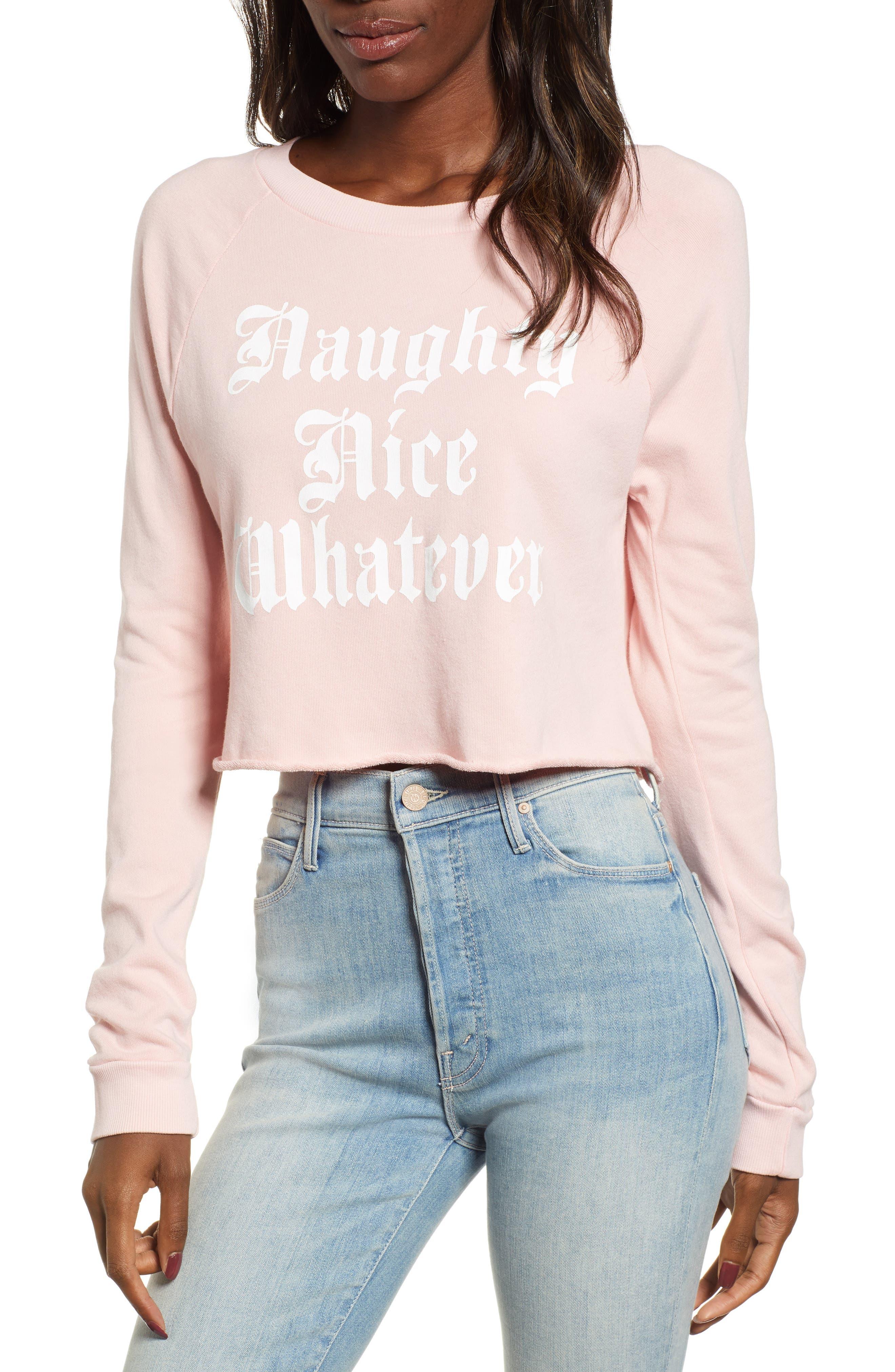 Naughty Nice Whatever Sweatshirt,                         Main,                         color, ROMANTIC