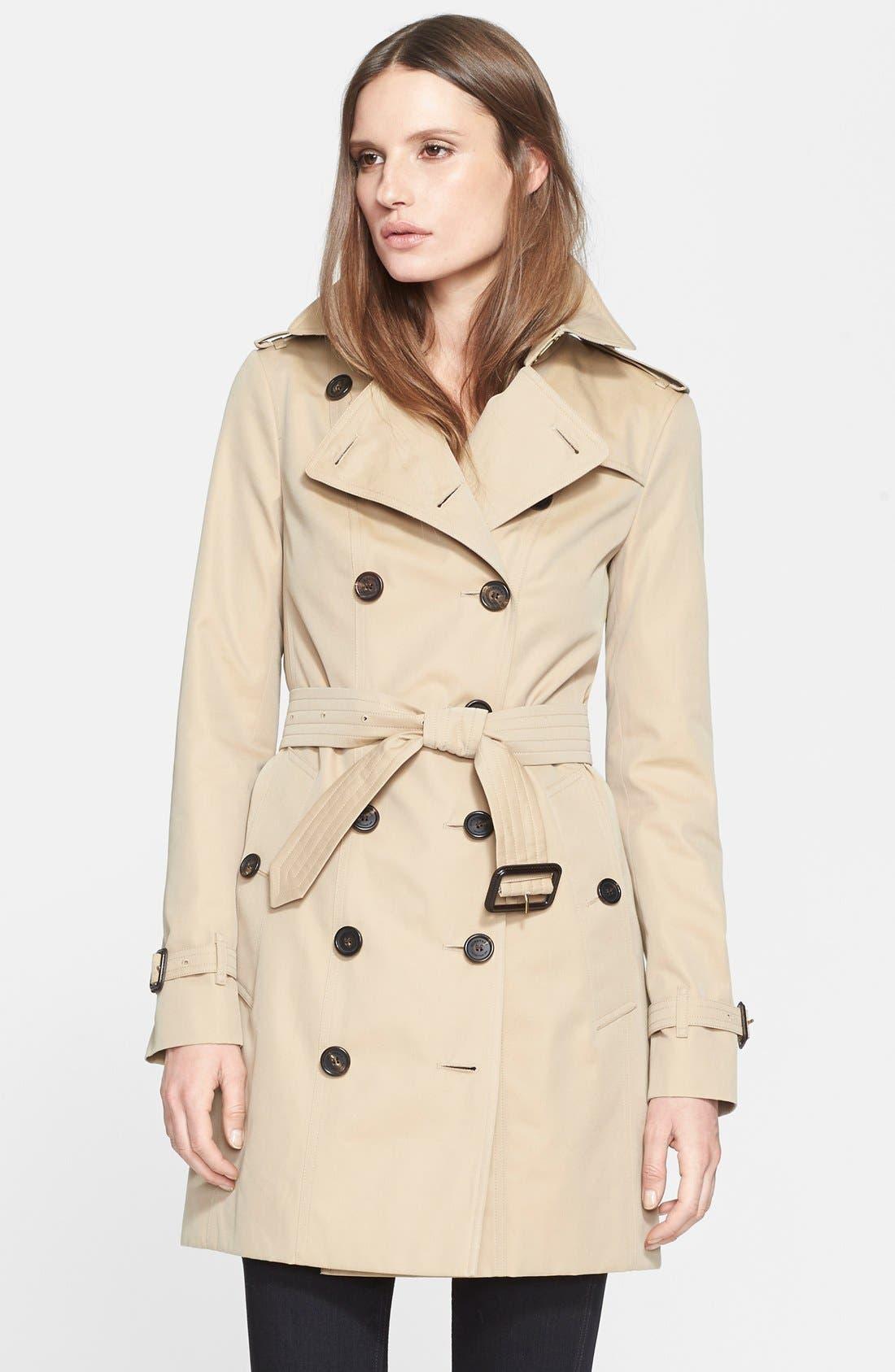 Sandringham Mid Slim Trench Coat,                             Main thumbnail 1, color,                             HONEY