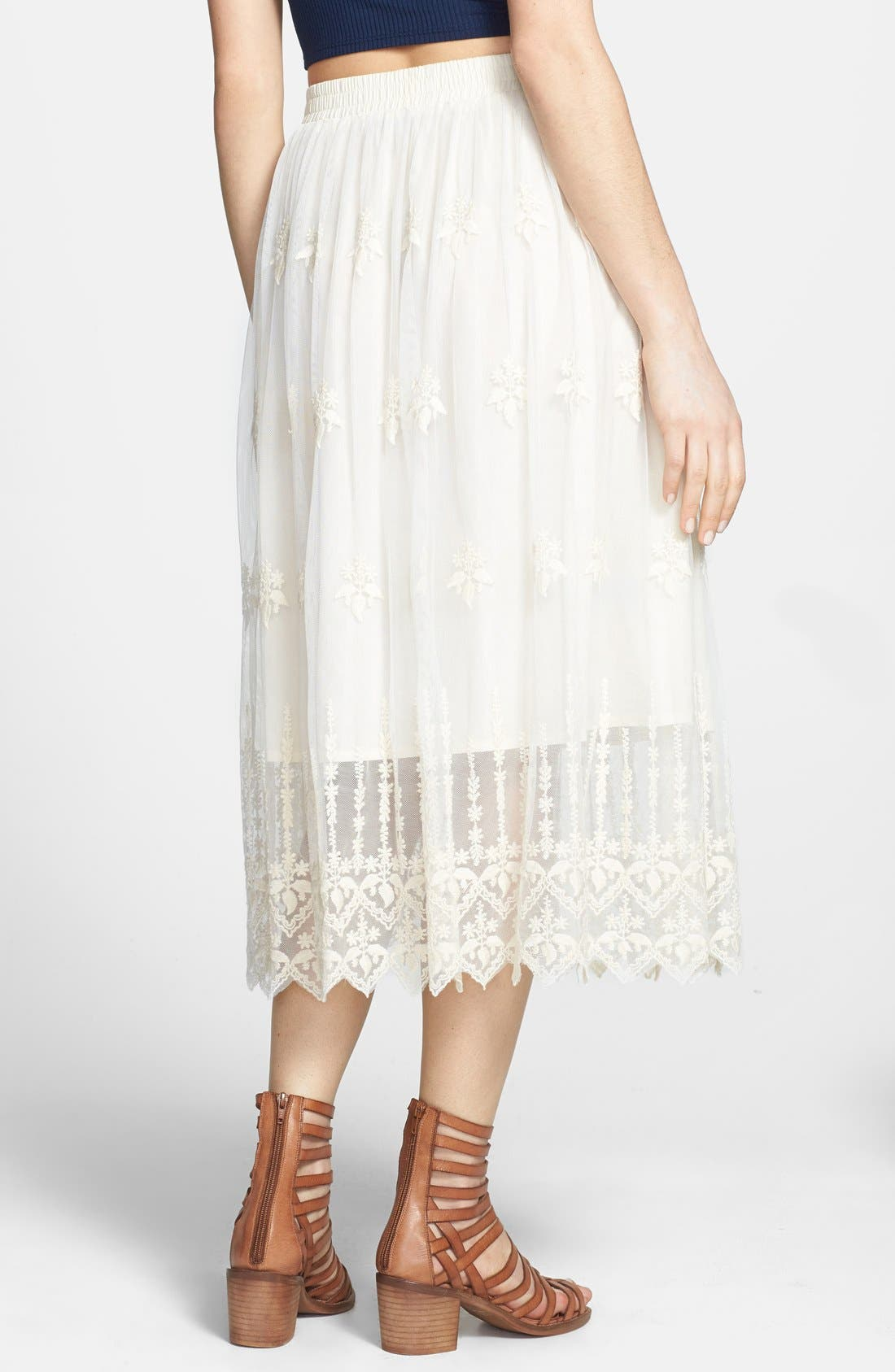 ASTR Embroidered Lace Midi Skirt,                             Alternate thumbnail 4, color,                             102